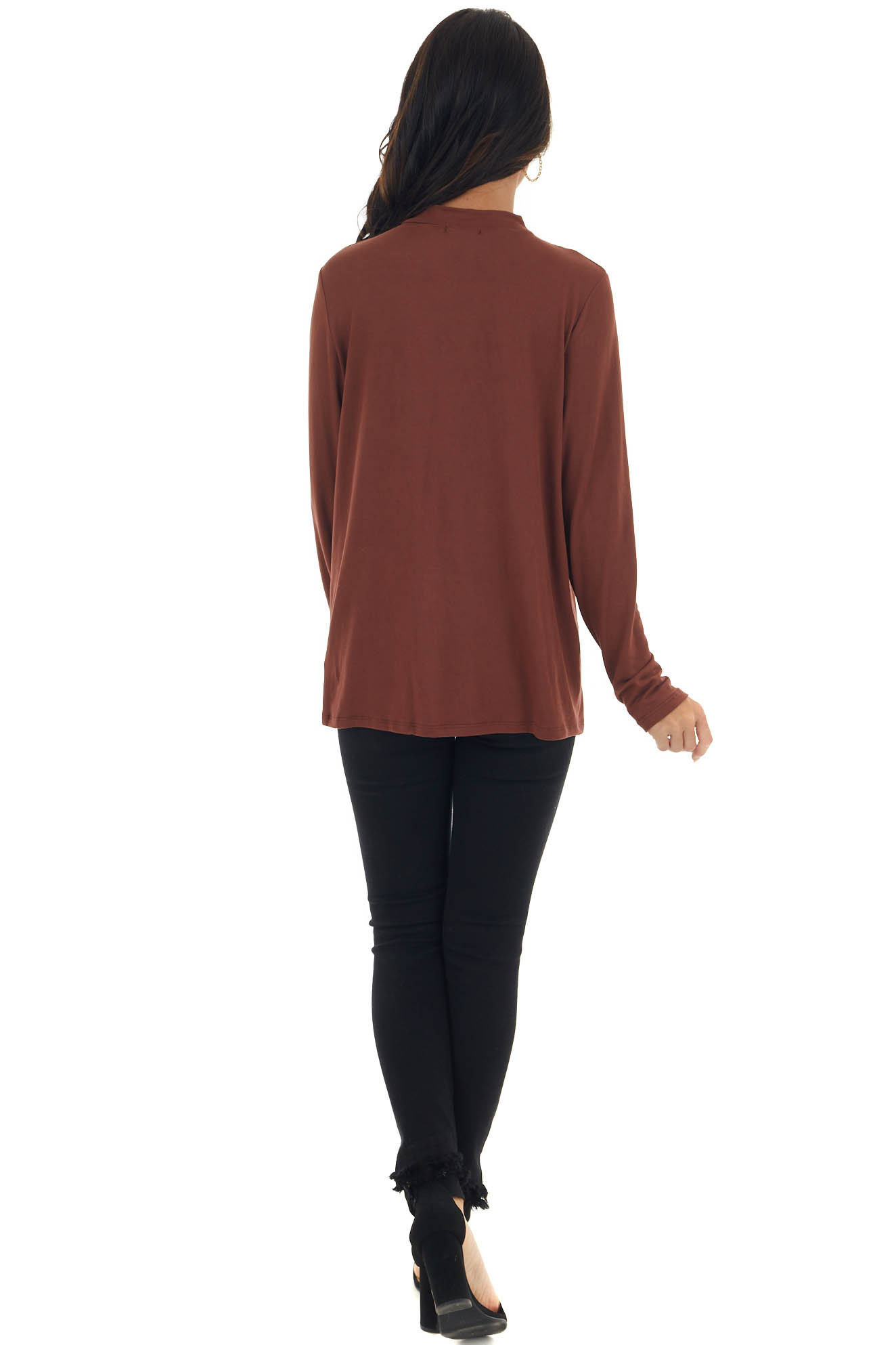 Marsala High Neck Knit Top with Chest Cut Out