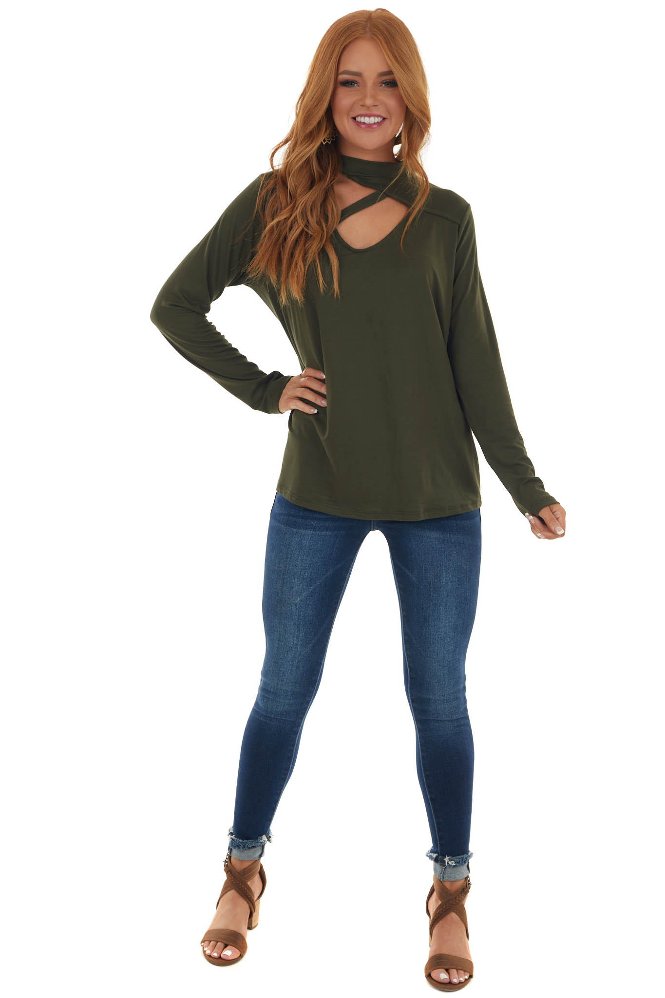 Olive High Neck Knit Top with Chest Cut Out