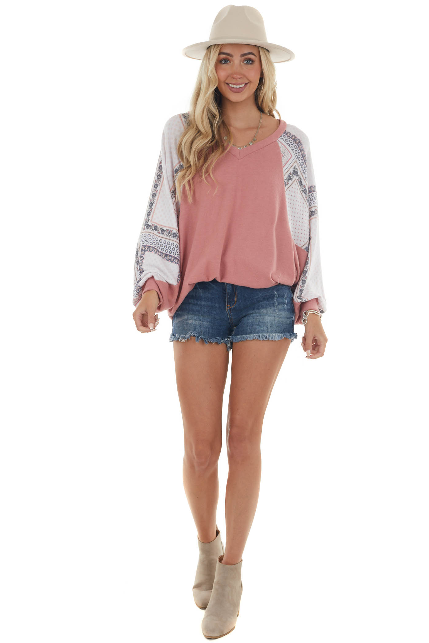 Tea Rose and Printed Dolman Sleeve Knit Top