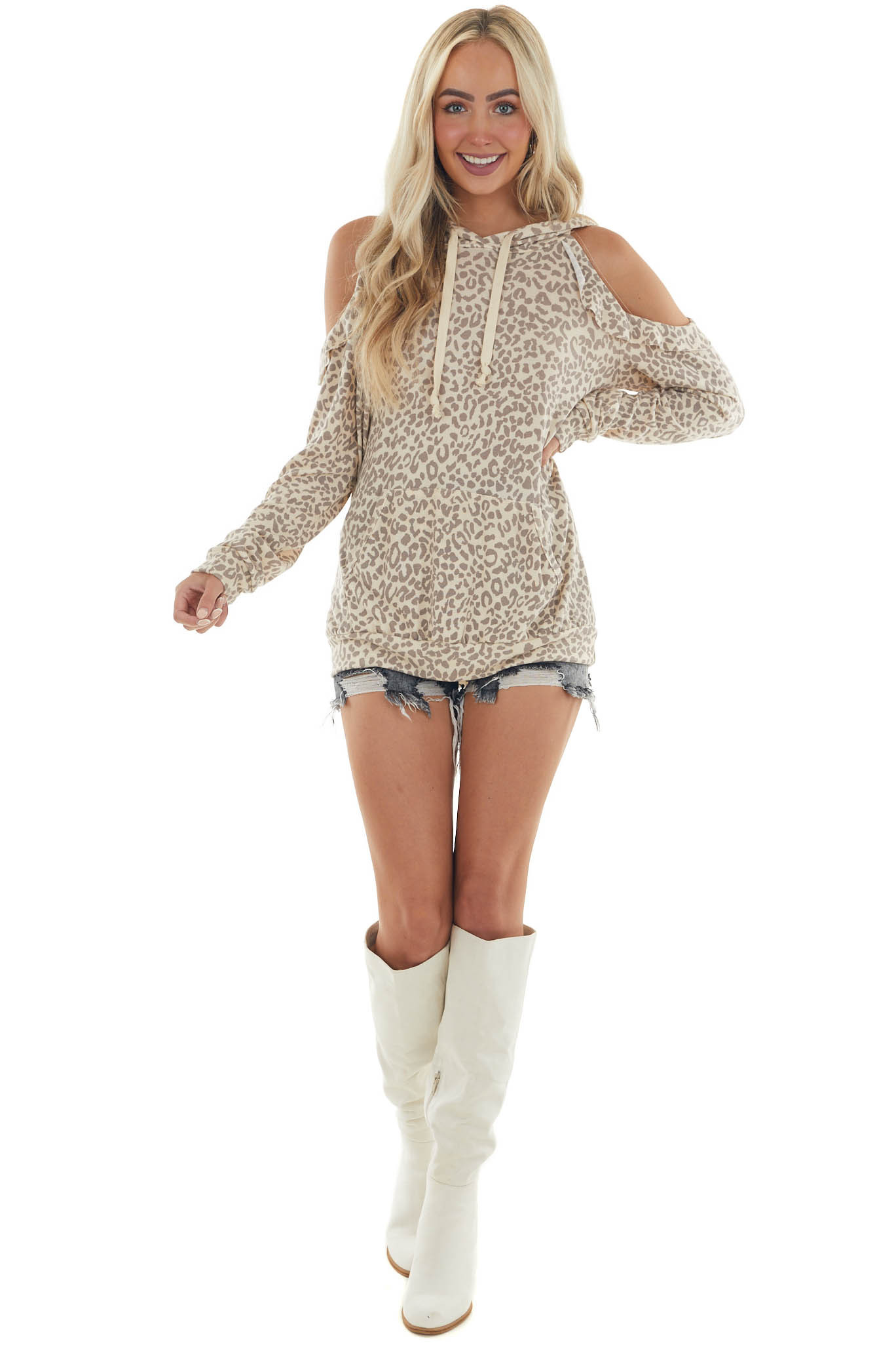 Beige Leopard Print Knit Top with Cold Shoulders and Hood
