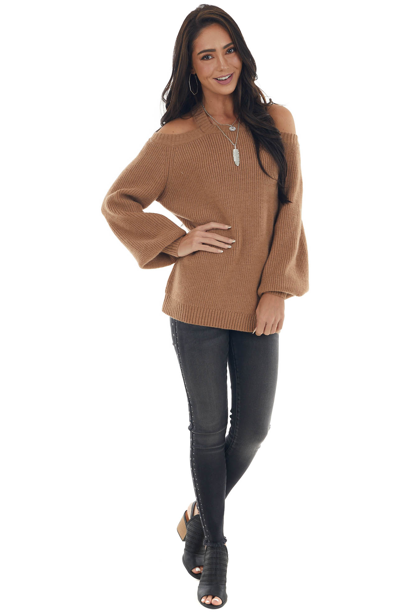 Brown Sugar Cold Shoulder Puff Sleeve Sweater