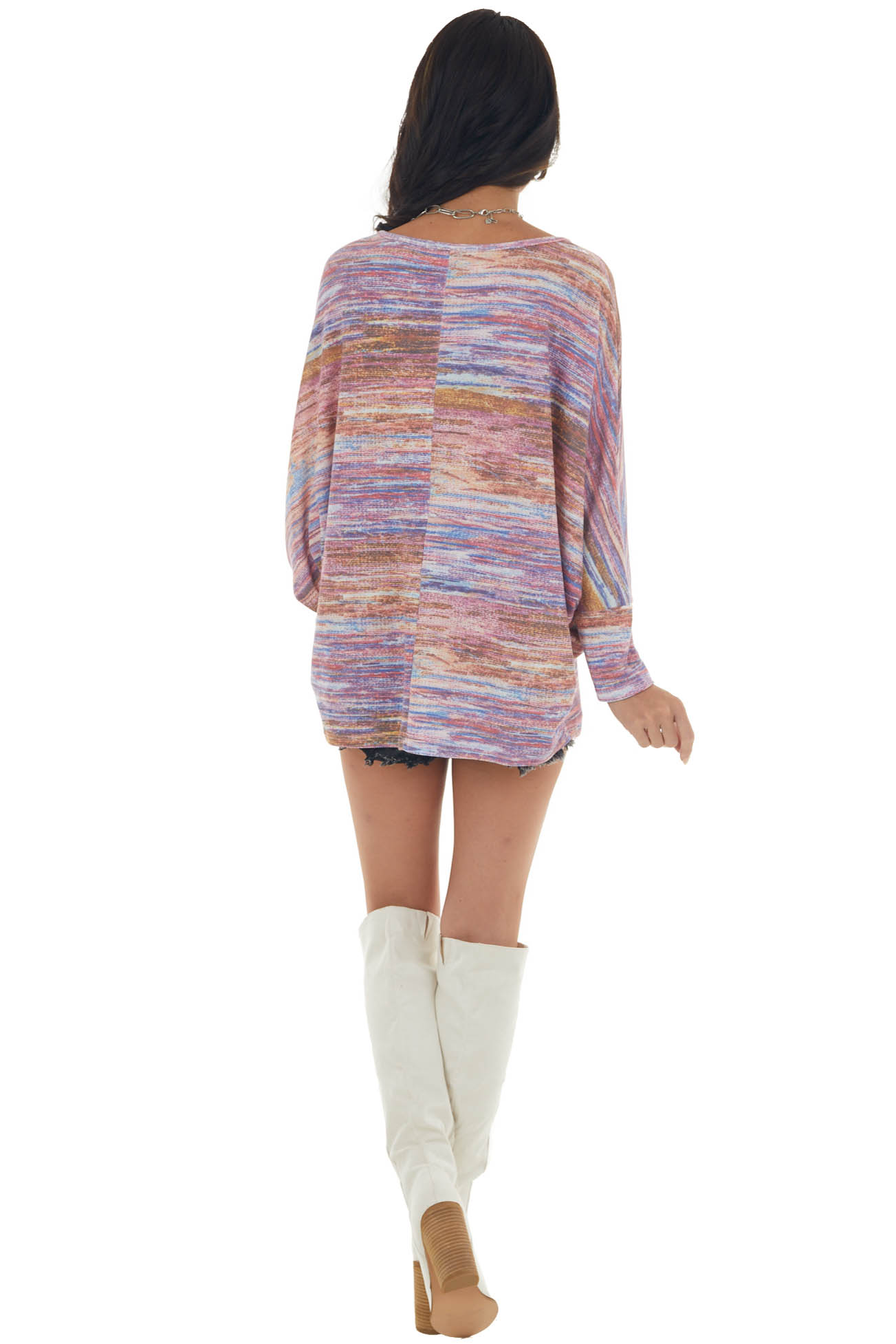Multicolored Knit Top with Long Dolman Sleeves