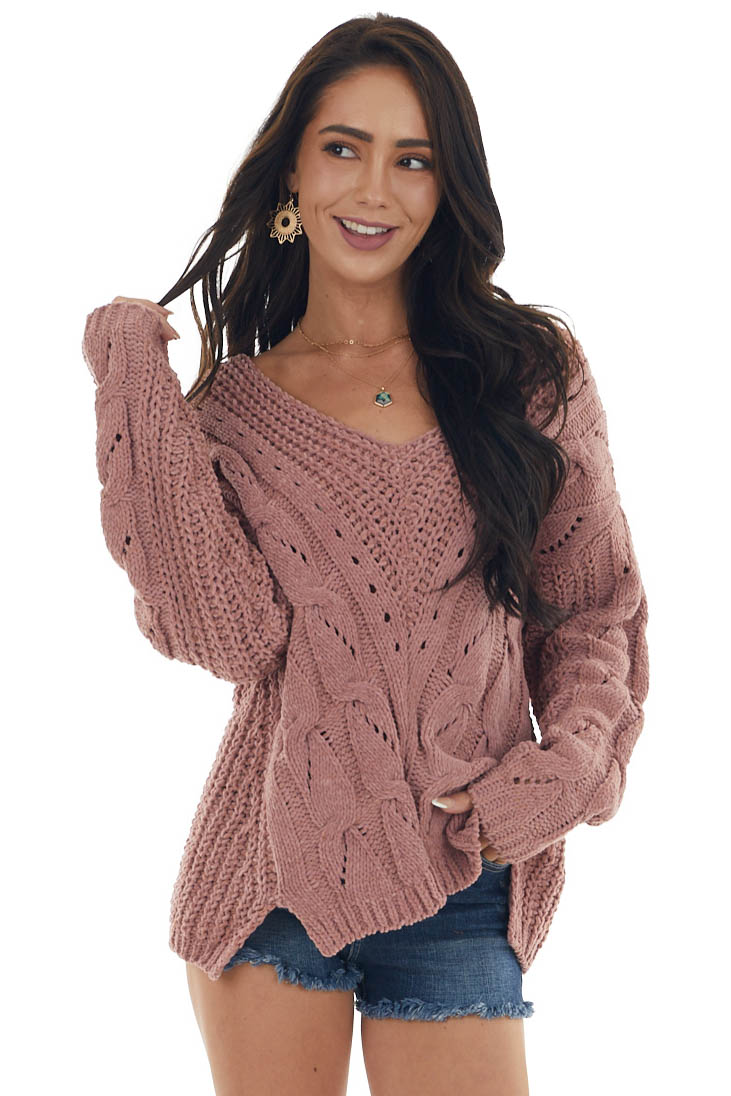 Rose Taupe V Neck Soft Cable Knit Sweater