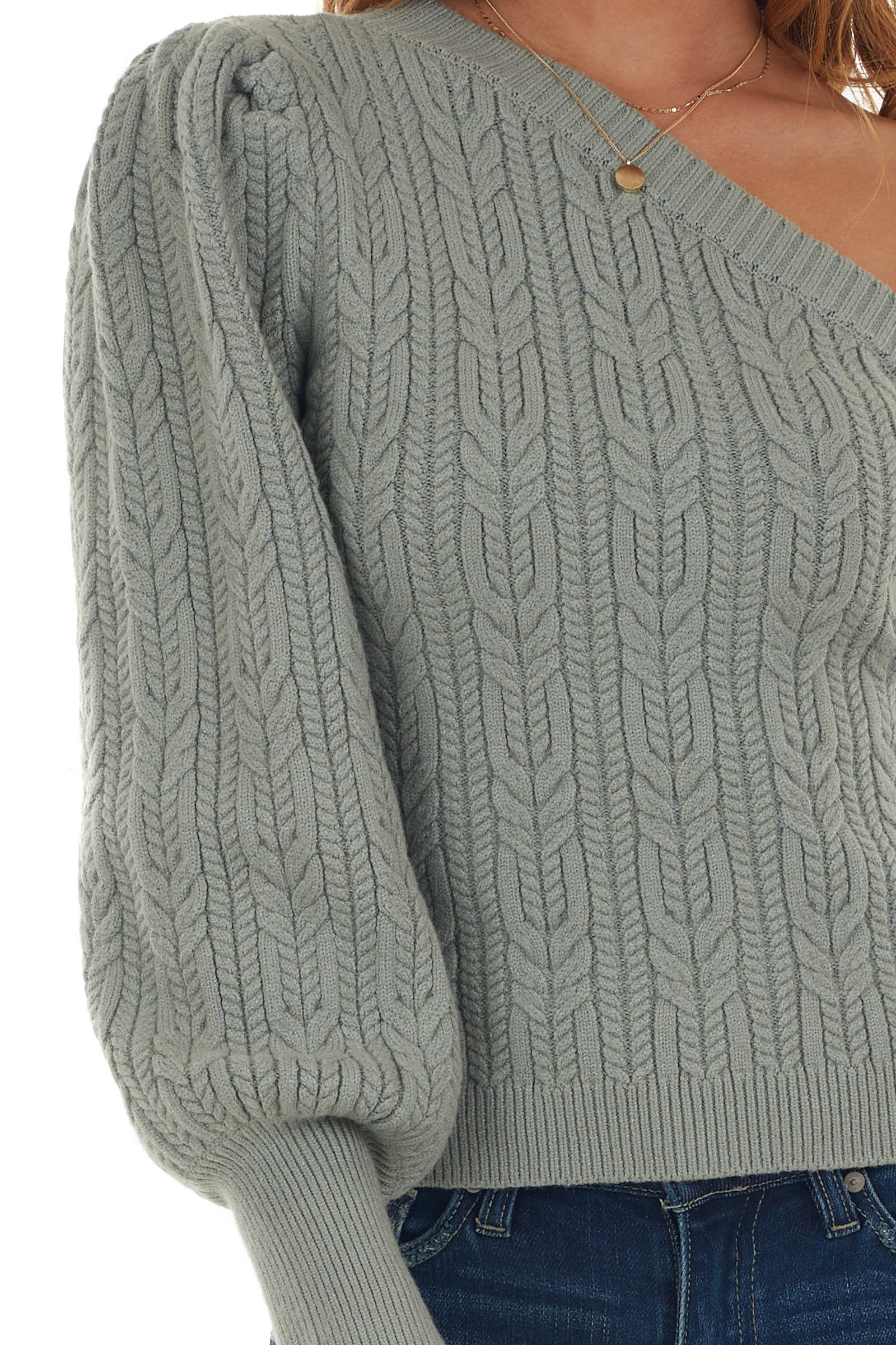 Sage Thick Cable Knit One Shoulder Sweater