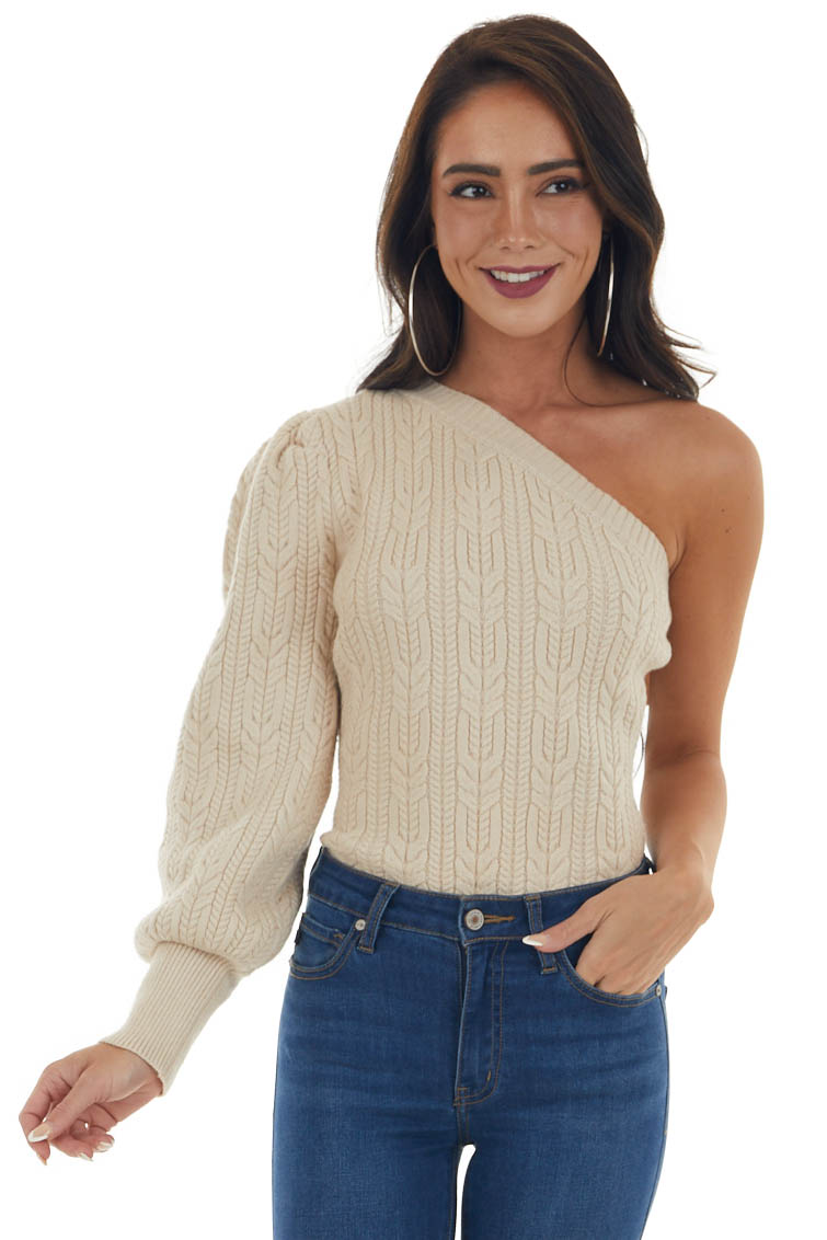 Sand Thick Cable Knit One Shoulder Sweater