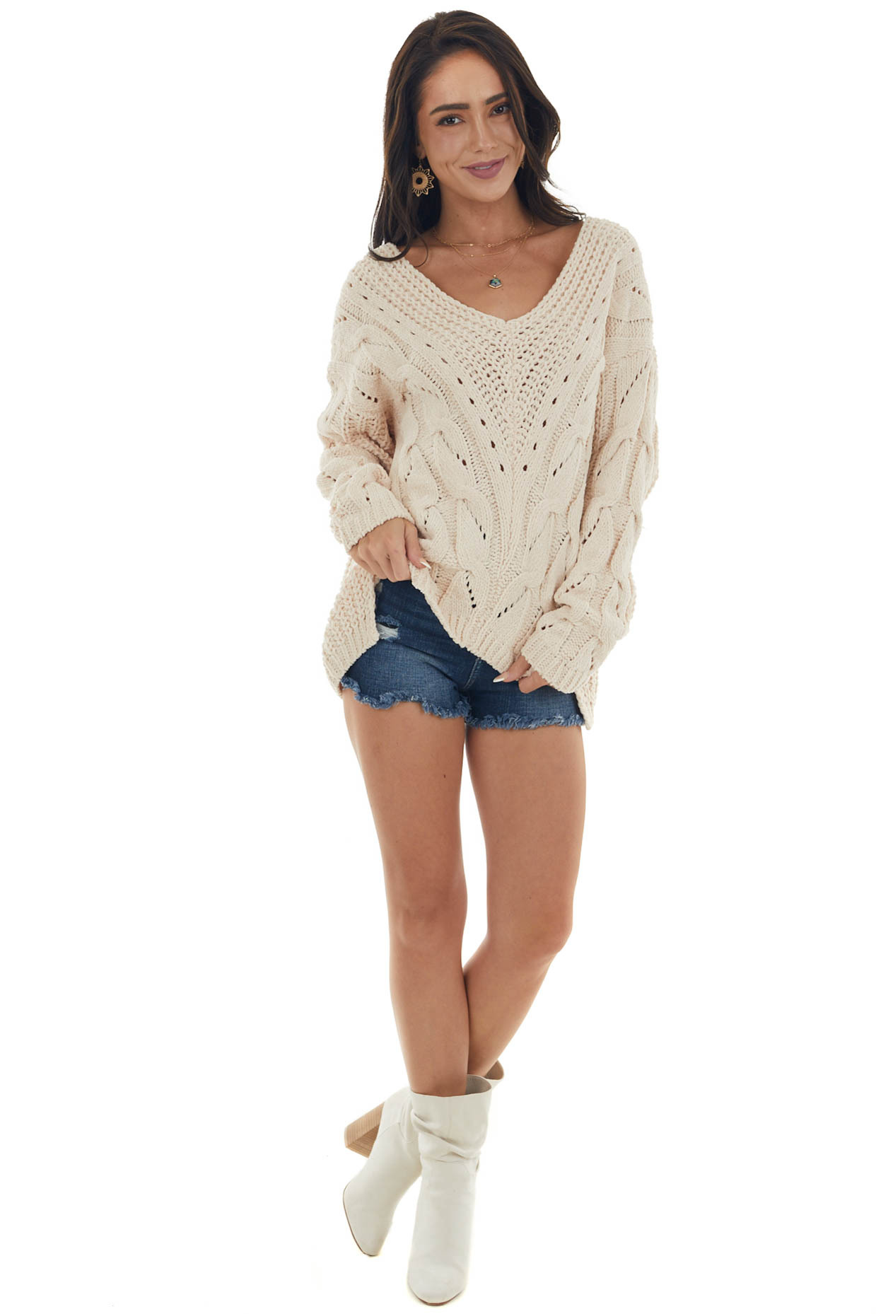 Beige V Neck Soft Cable Knit Sweater