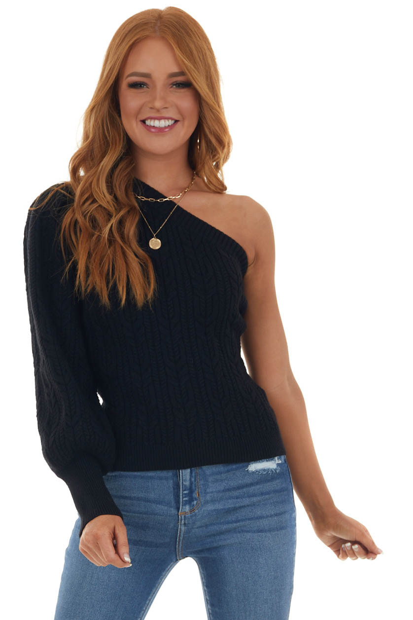 Black Thick Cable Knit One Shoulder Sweater