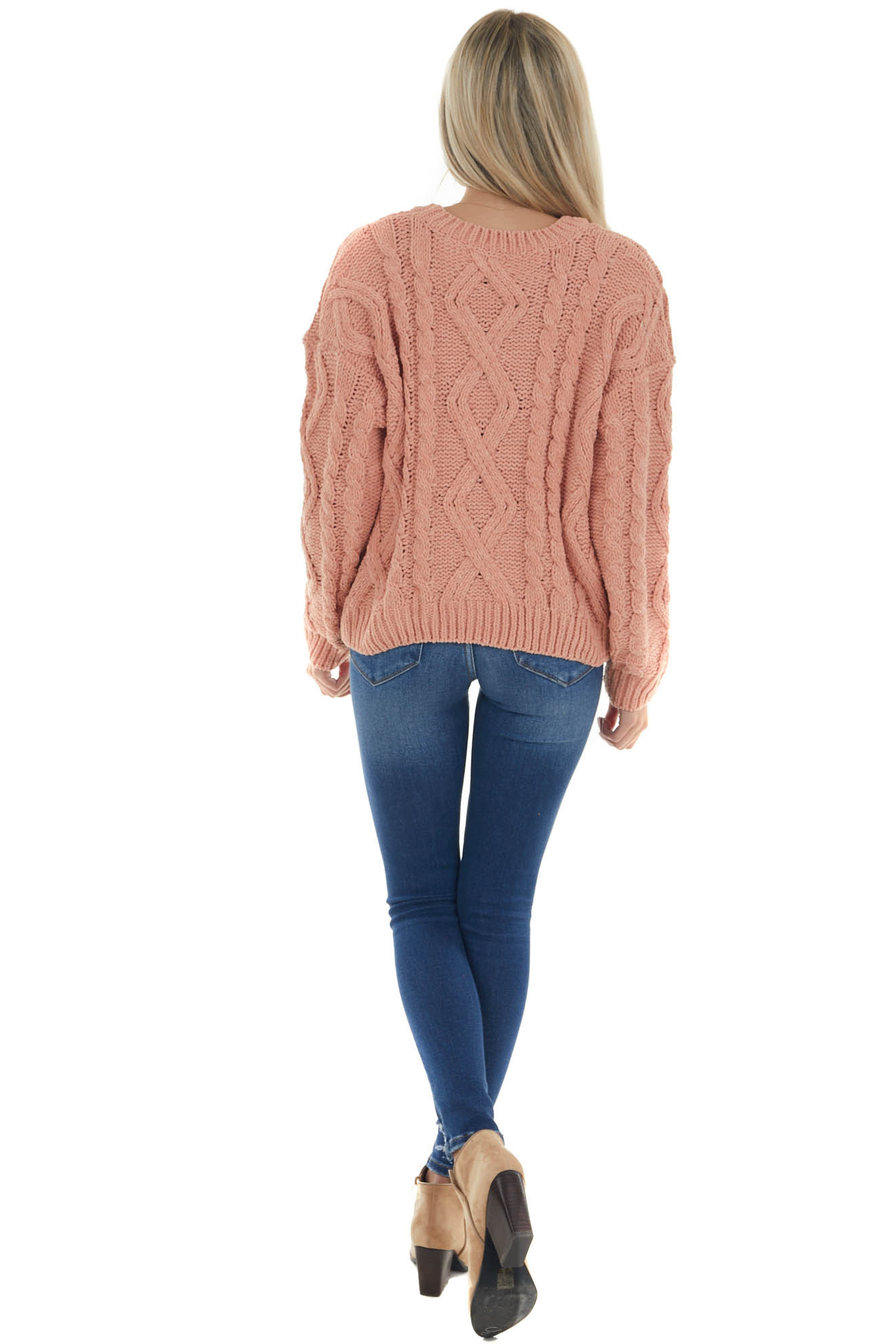 Coral Thick Chenille Cable Knit Sweater