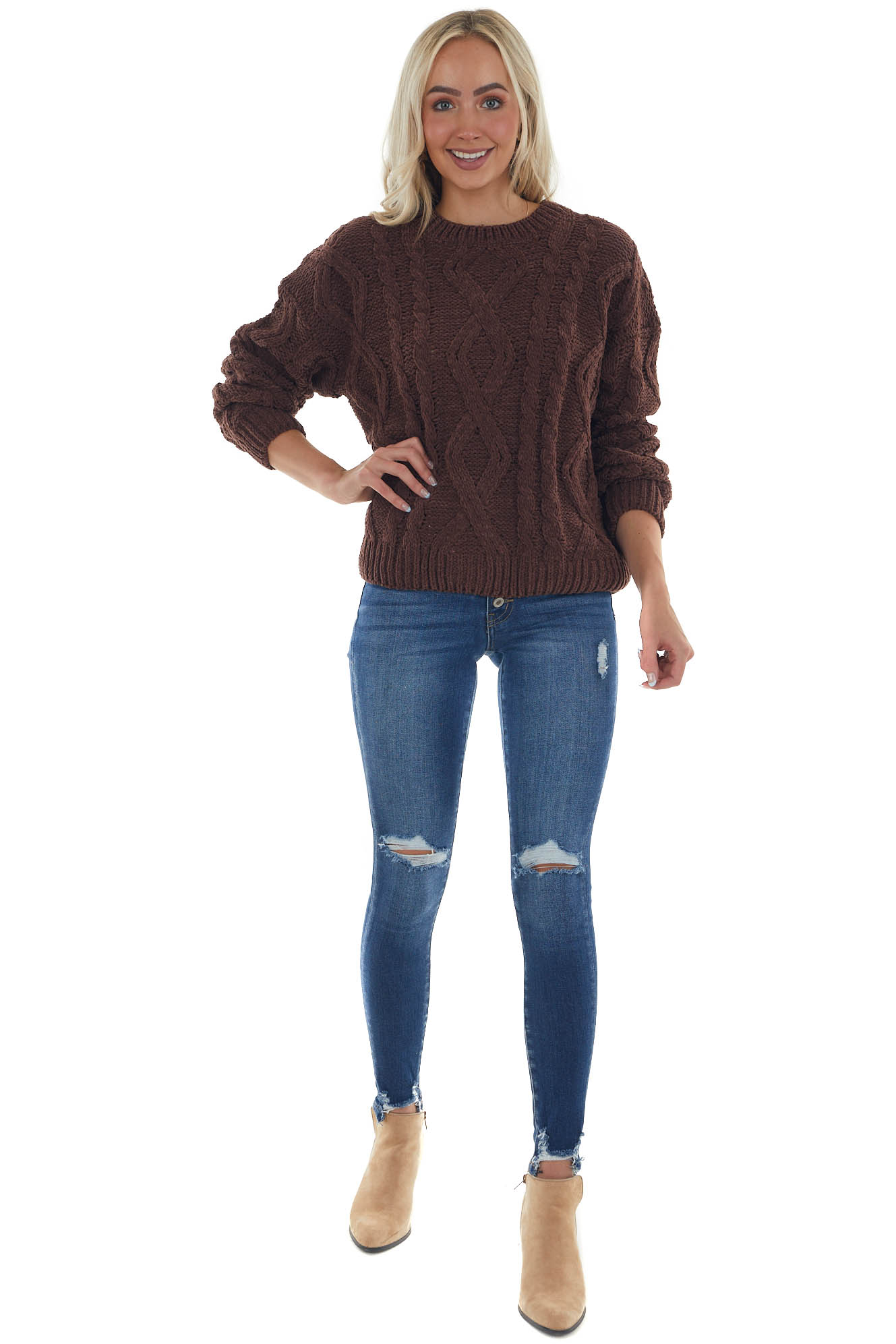 Chocolate Thick Chenille Cable Knit Sweater