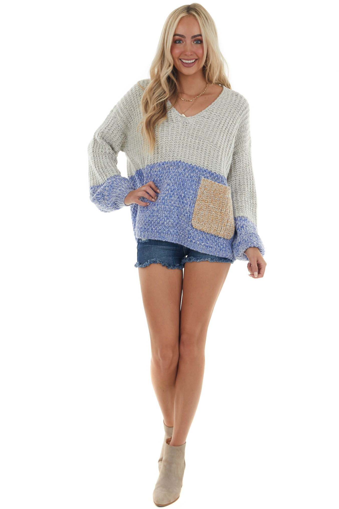Pewter Grey Colorblock V Neck Knit Sweater