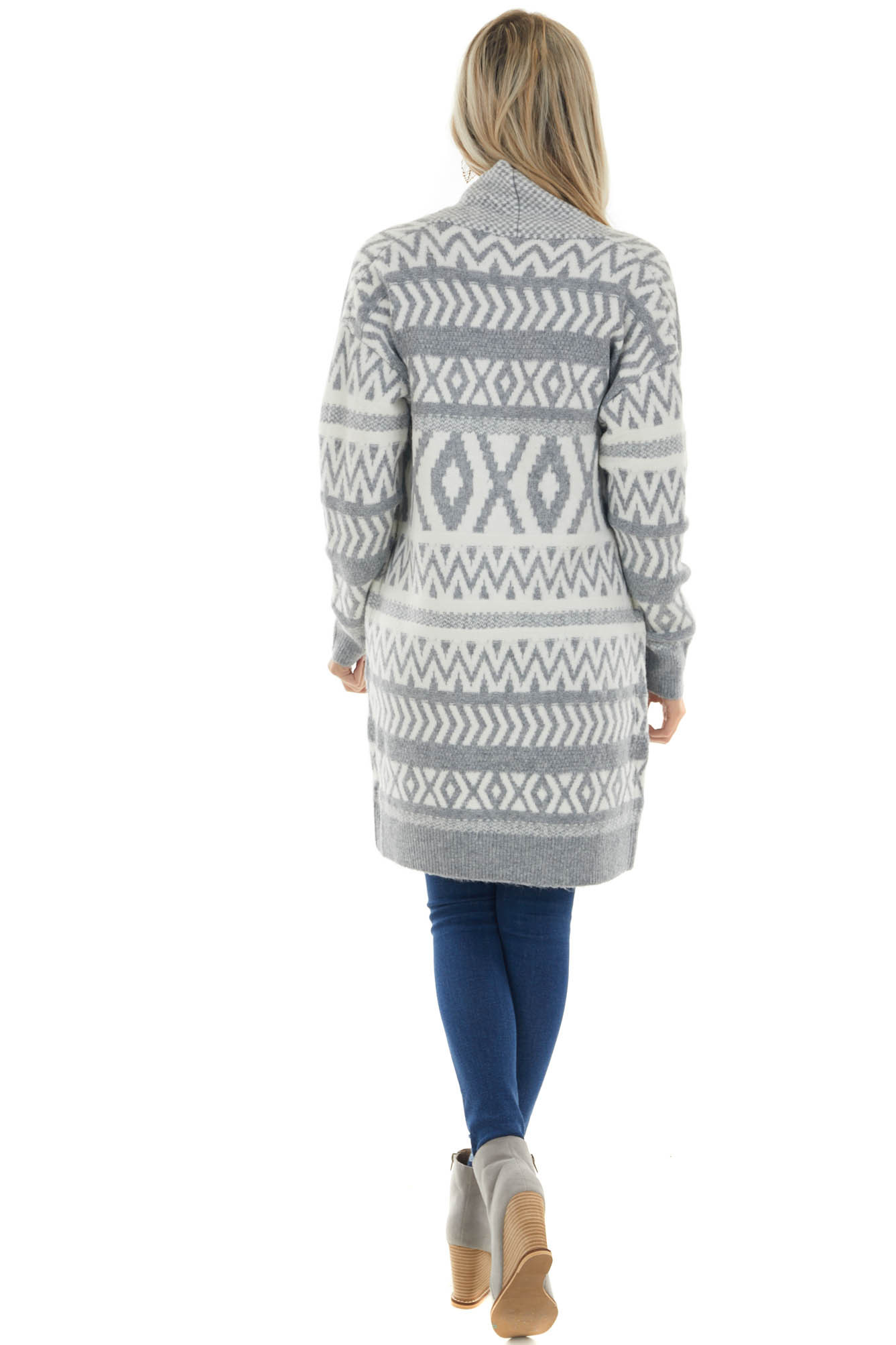Steel Printed Open Front Knit Cardigan