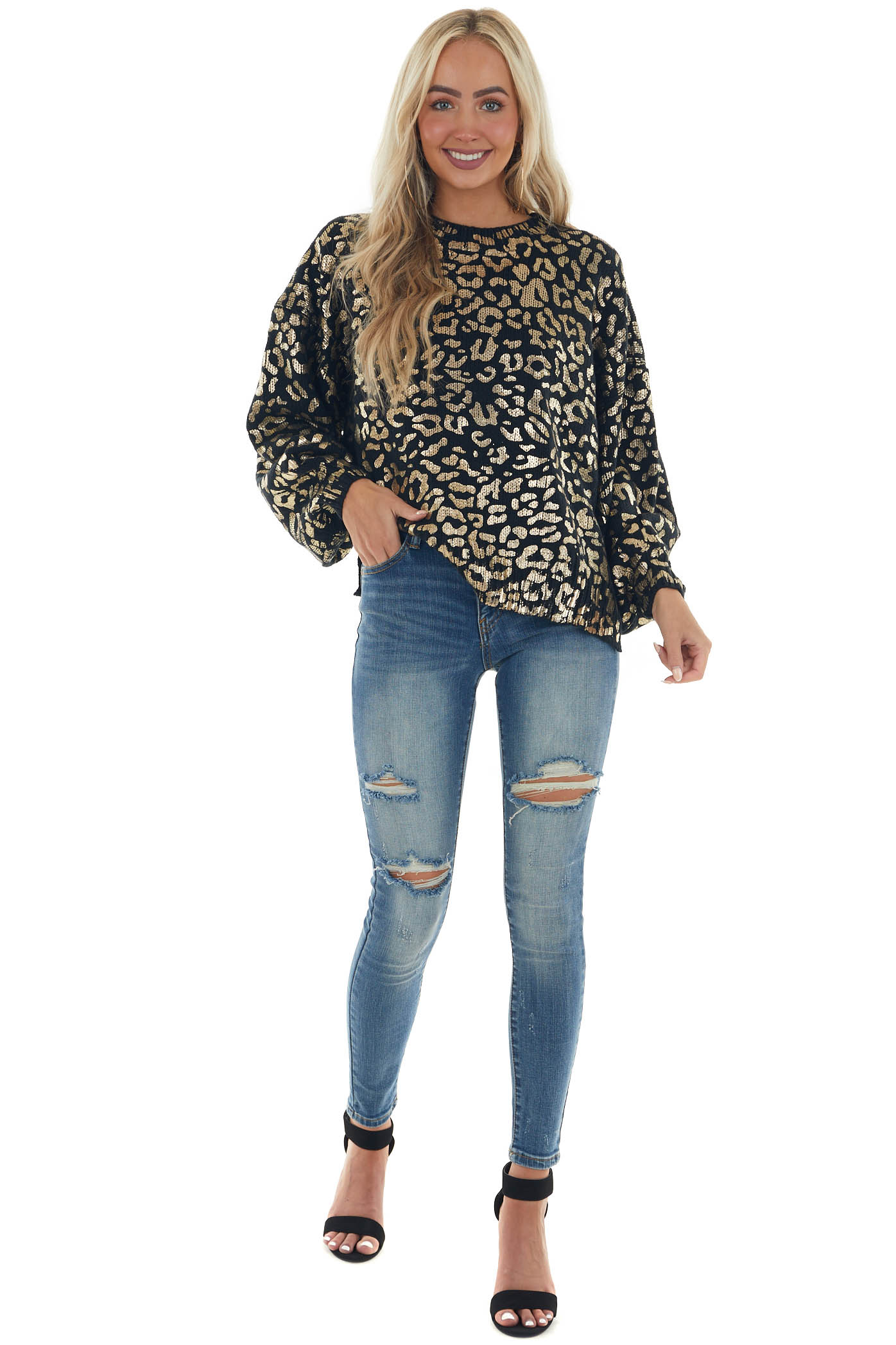 Black and Gold Leopard Print Sweater