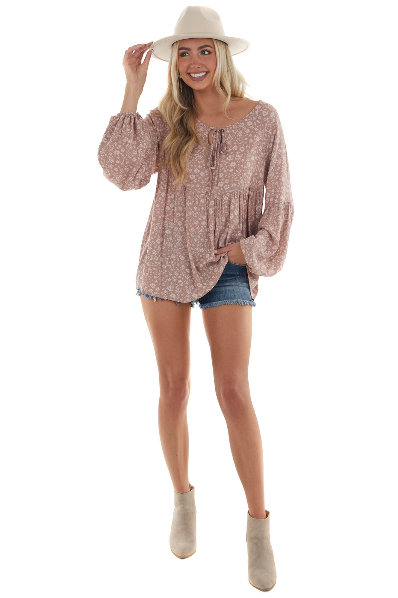 Dusty Rose Floral Print Long Bubble Sleeve Top