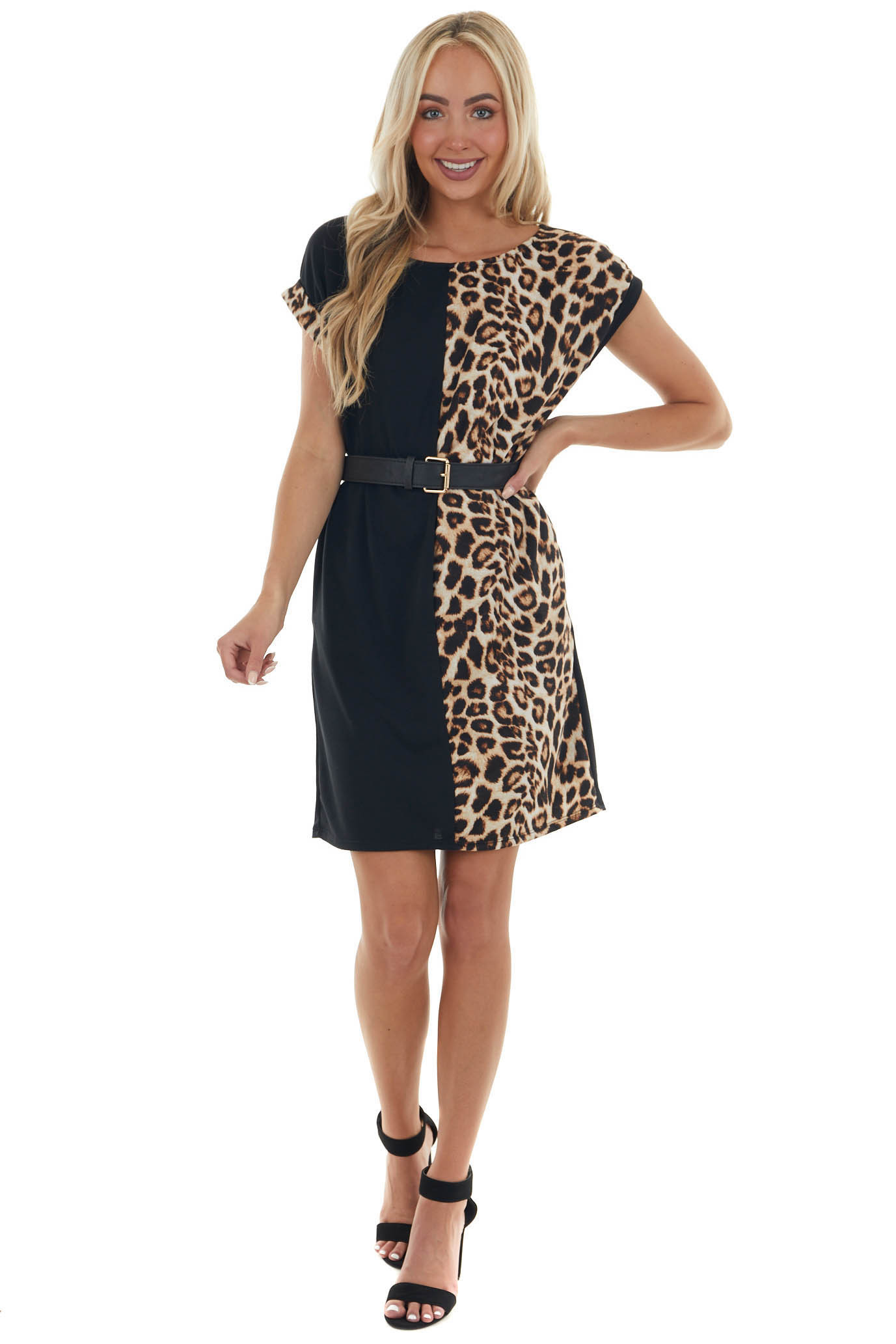 Black and Leopard Shift Dress with Pockets
