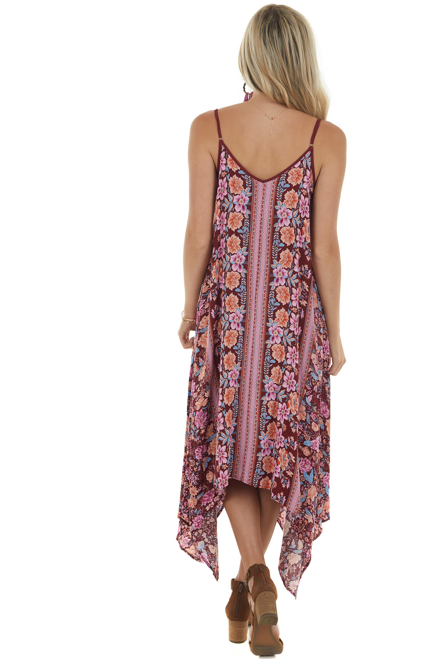 Sangria Floral and Abstract Sleeveless Dress