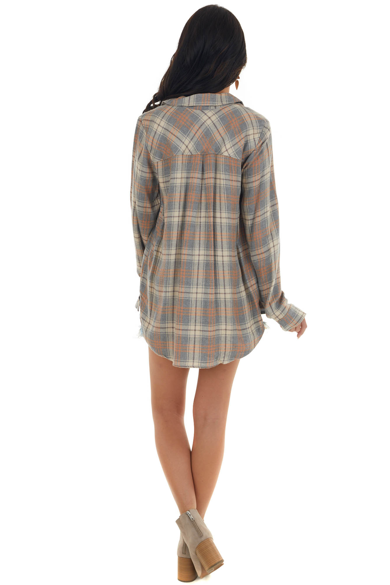 Steel Grey Plaid Button Up Top with Collar