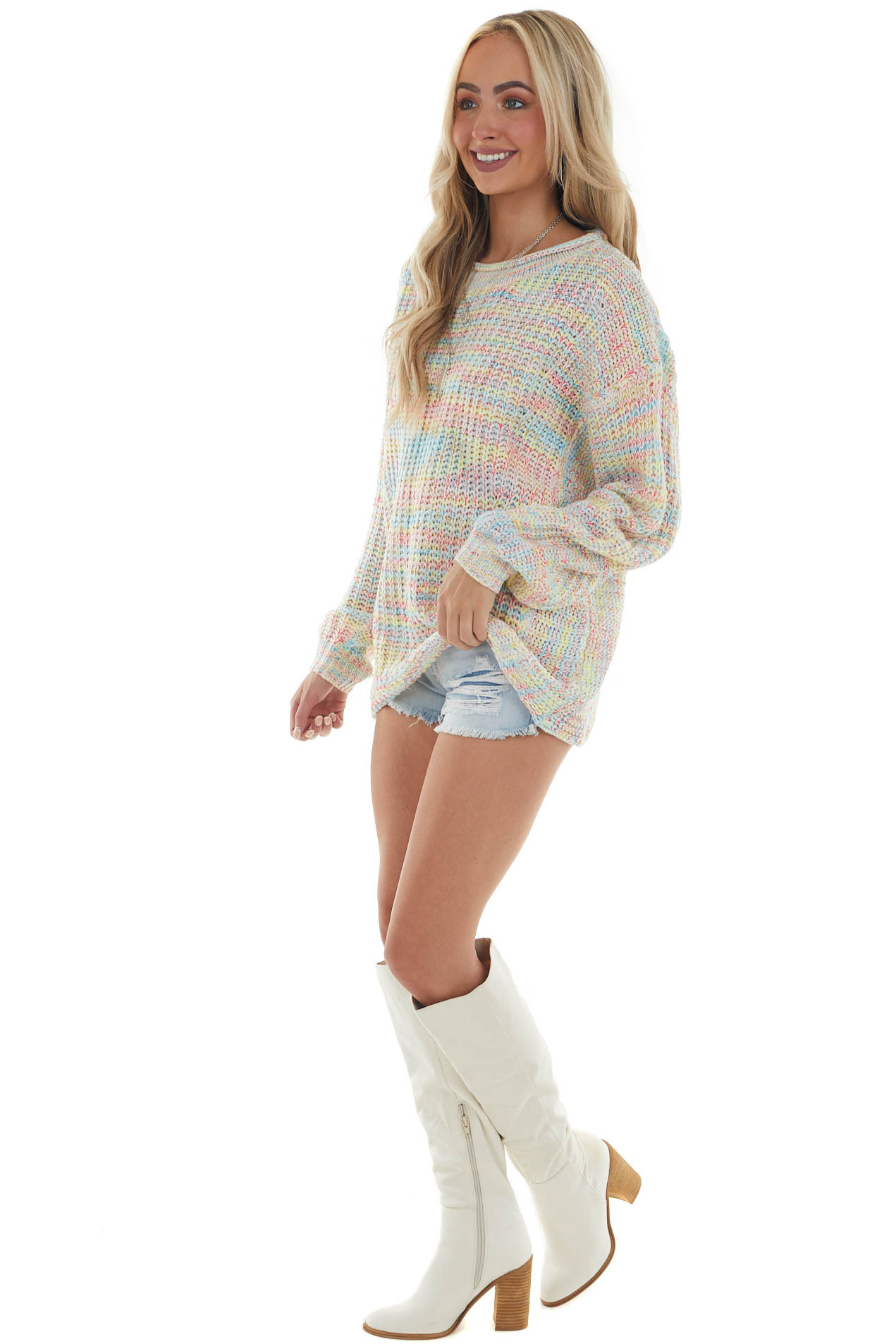 Neon Multicolor Knit Sweater with Round Neck