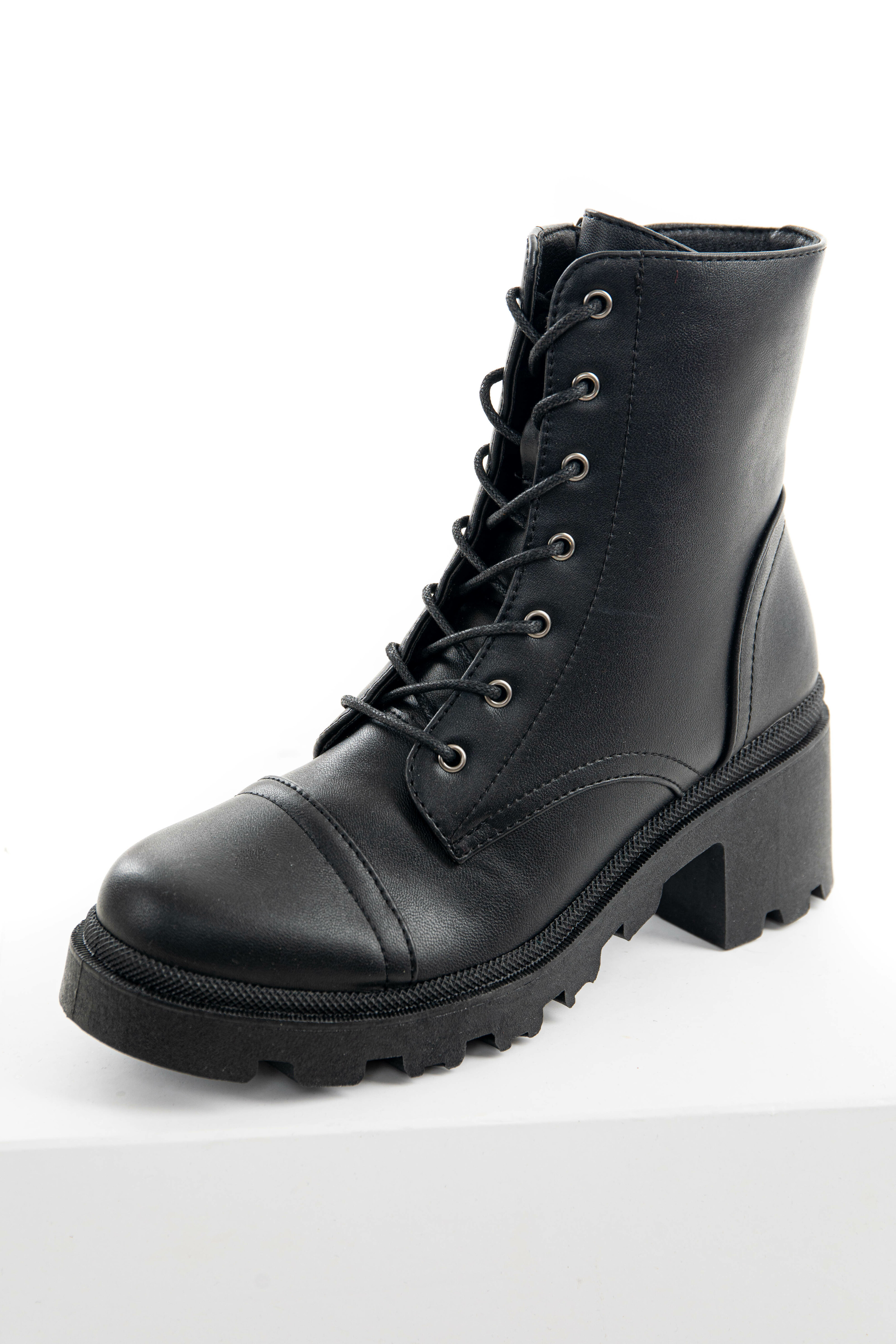Black Lace Up Chunky Treaded Sole Combat Boots