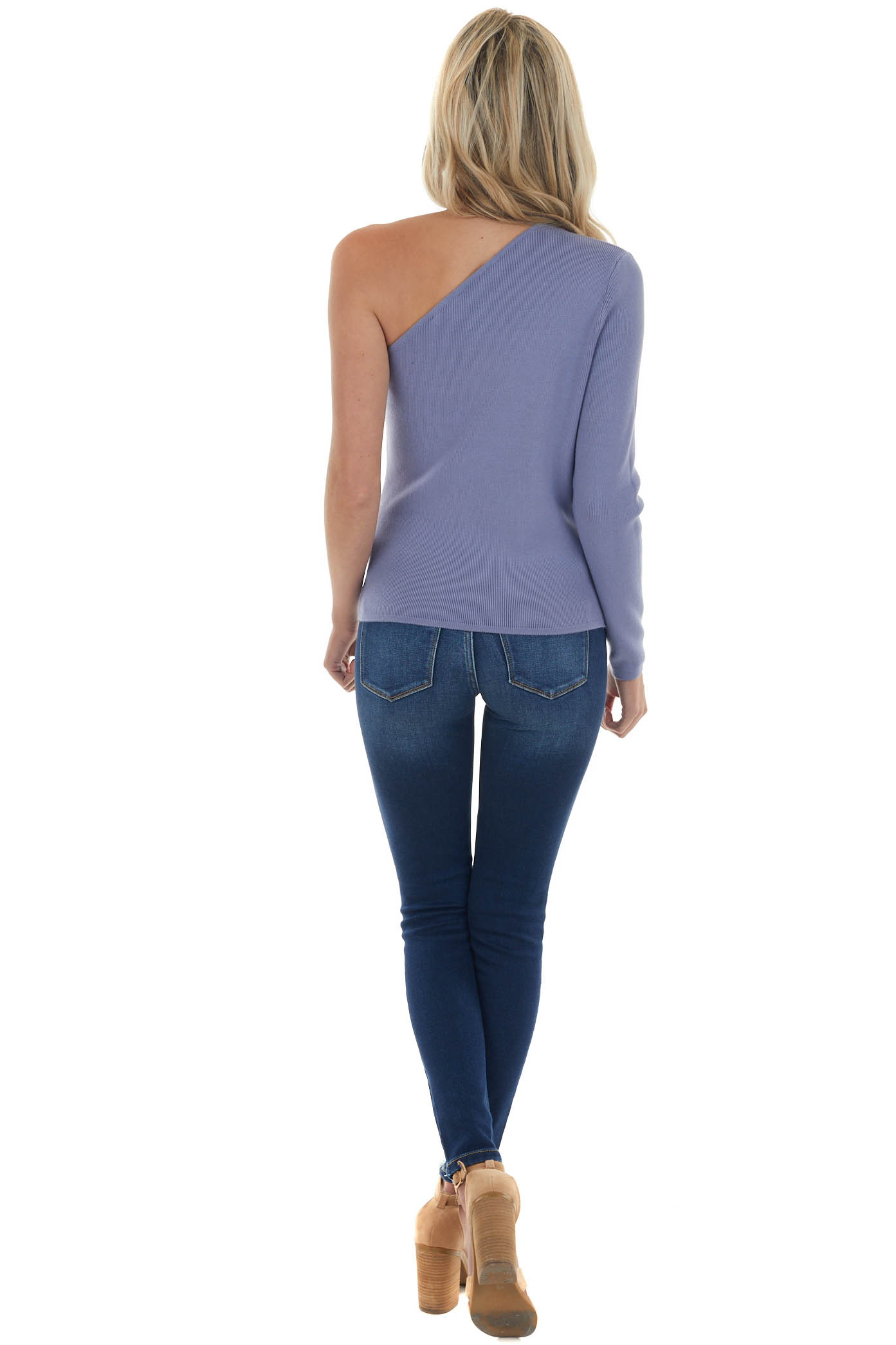 Periwinkle Ribbed Knit One Shoulder Sweater