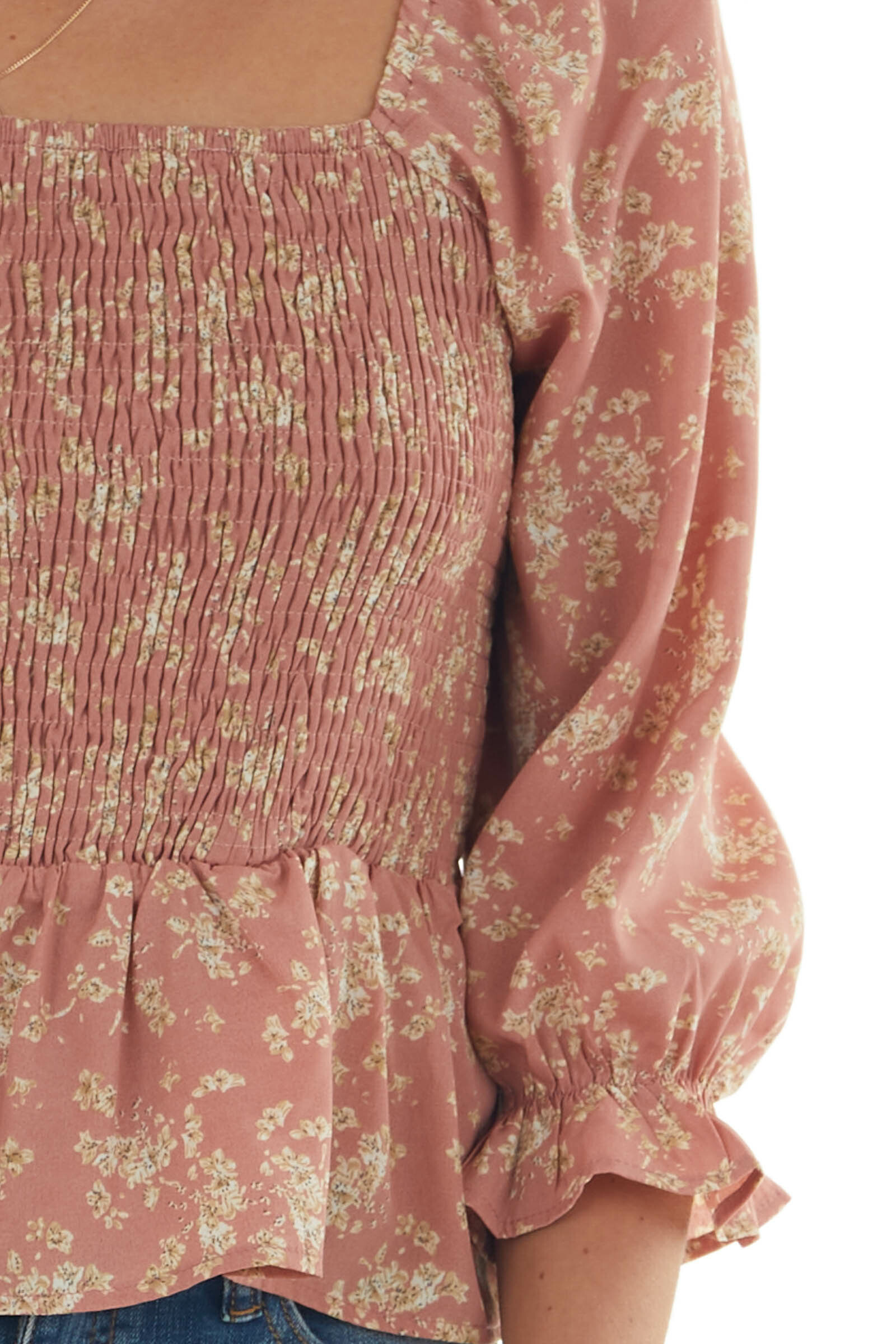 Pink Sherbet Floral Print 3/4 Sleeve Woven Top