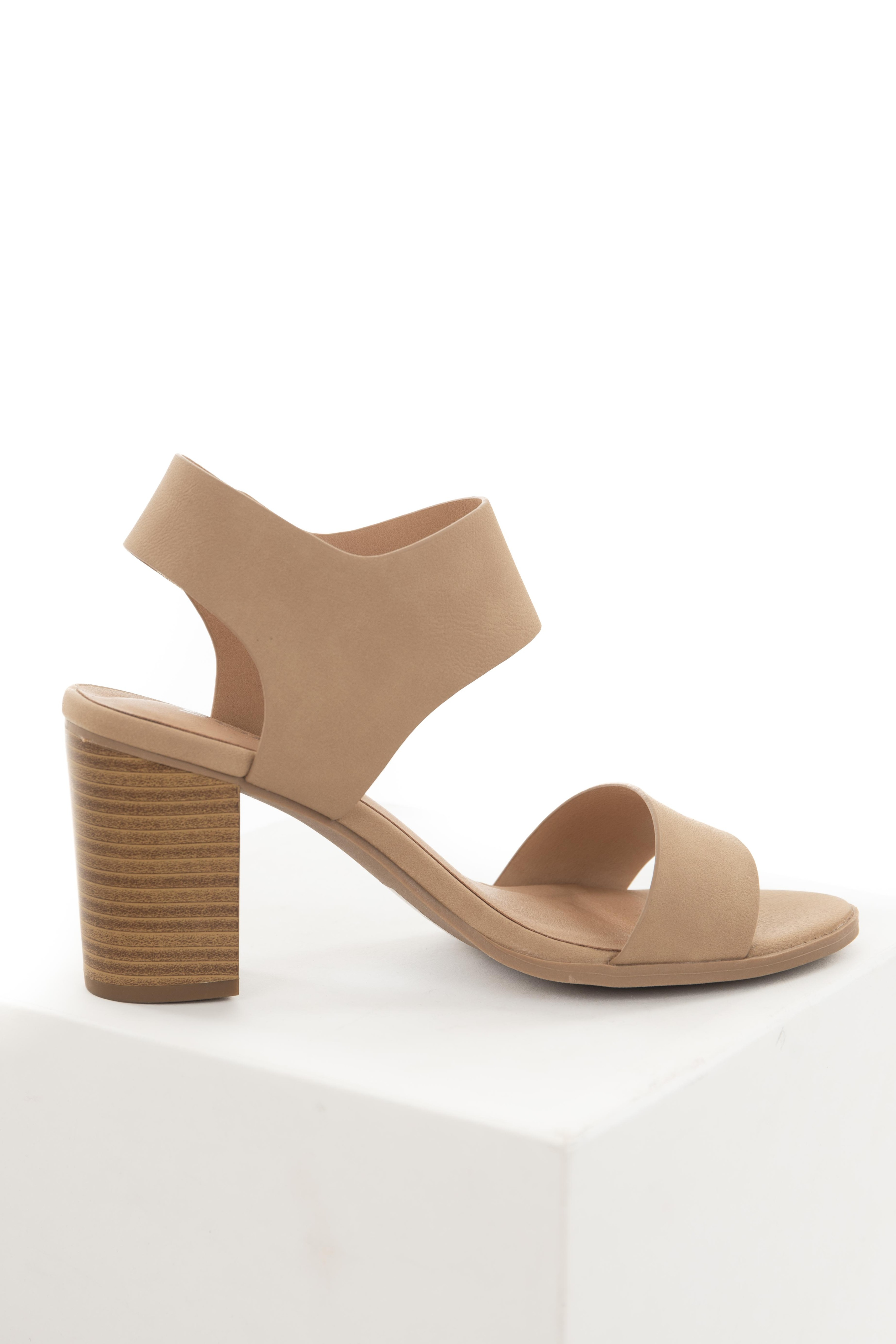 Nude Stacked Heels with Velcro Sling Back