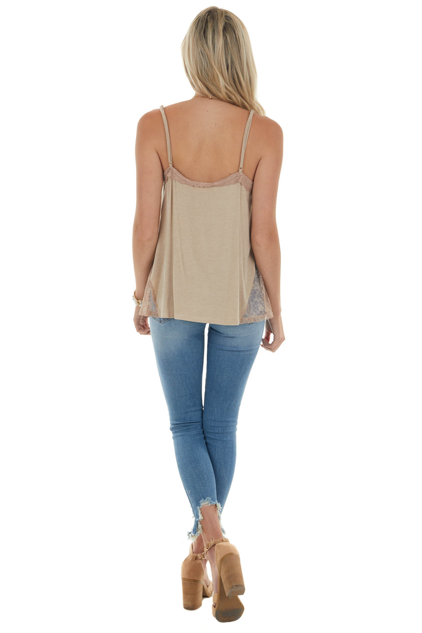 Oatmeal Pleated Tank Top with Lace Details