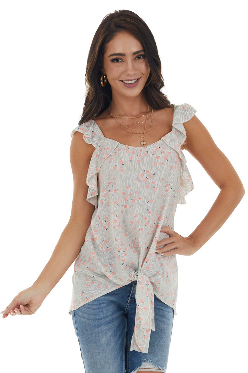 Punch Pink Ditsy Floral Striped Front Tie Tank