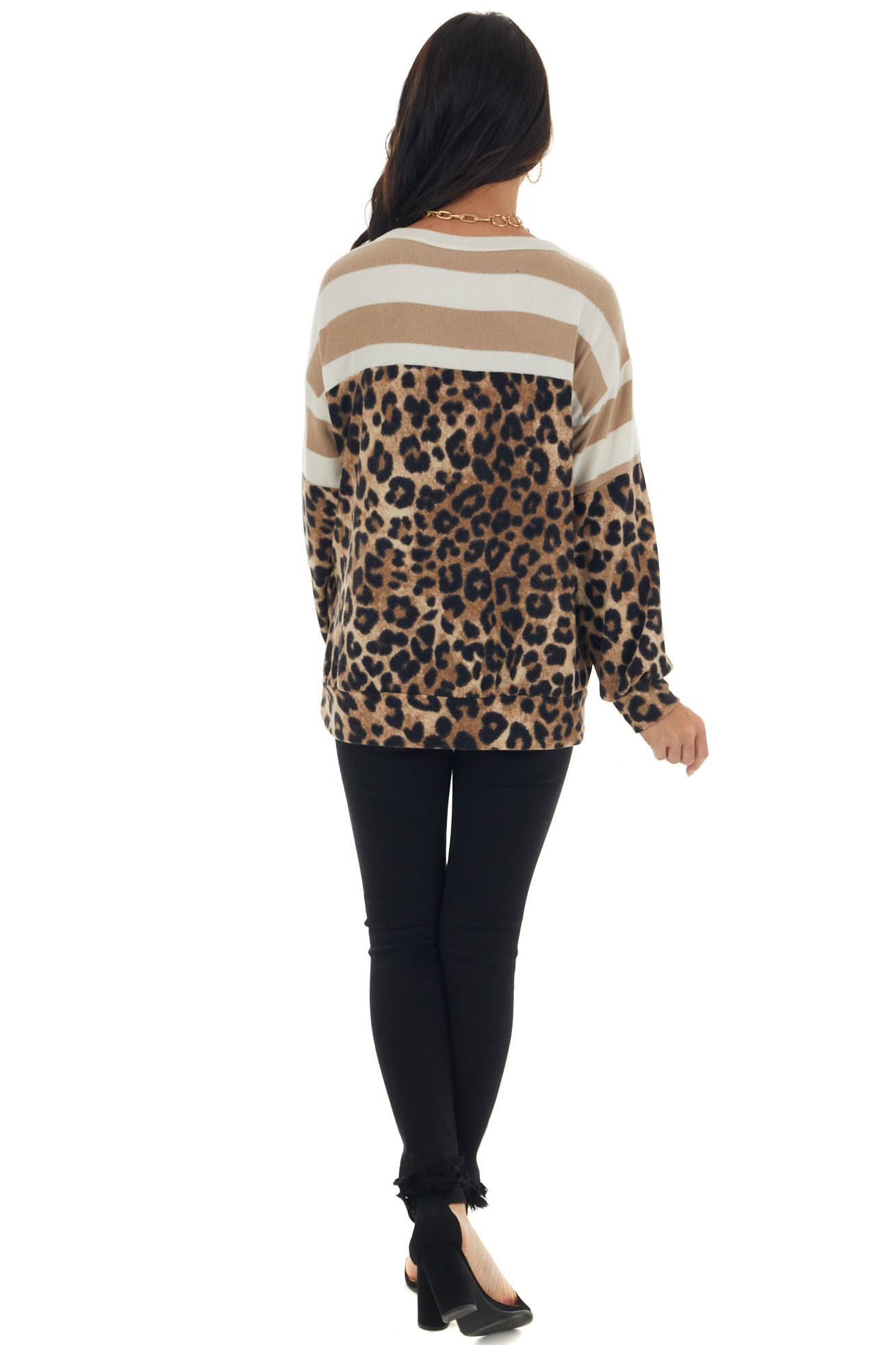 Latte Colorblock Long Puff Sleeve Knit Top