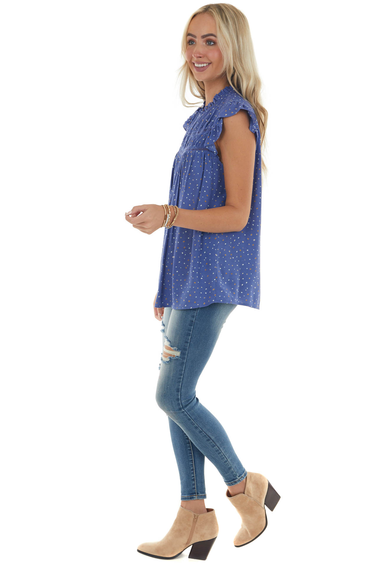 Cobalt Speckled Blouse with Lace Yoke Detail