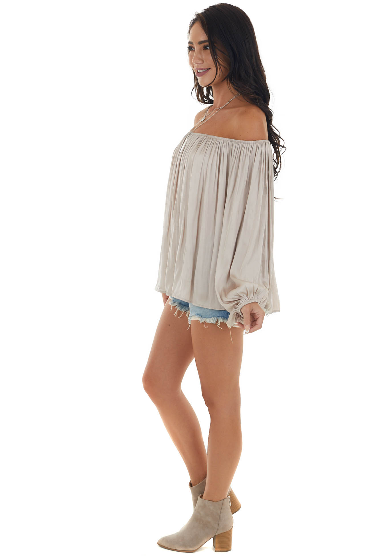Champagne 3/4 Sleeve Flowy Peasant Blouse