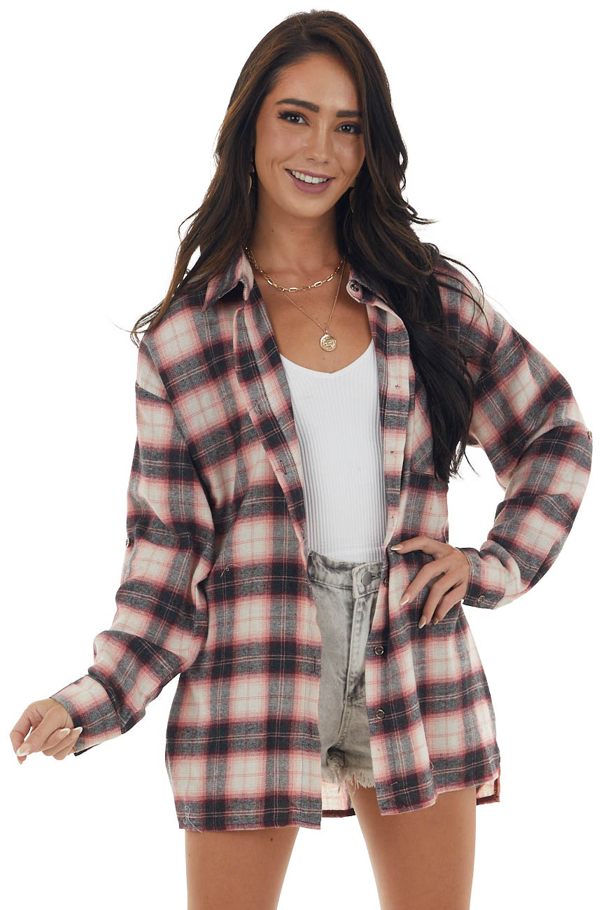 Punch Plaid Long Sleeve Button Up Flannel Top