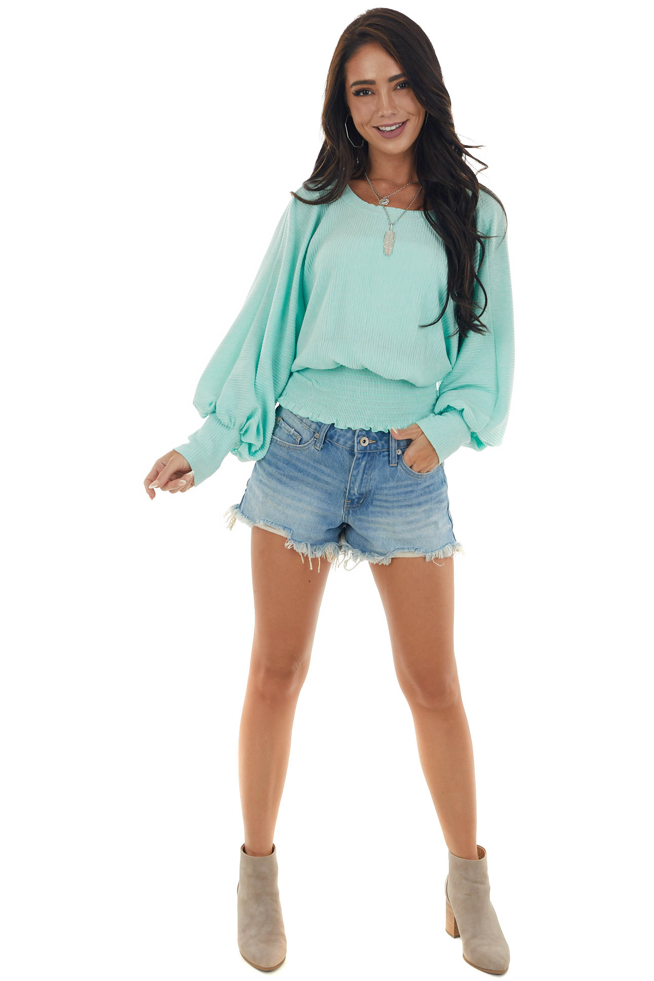 Mint Ribbed Knit Long Sleeve Smocked Waist Top