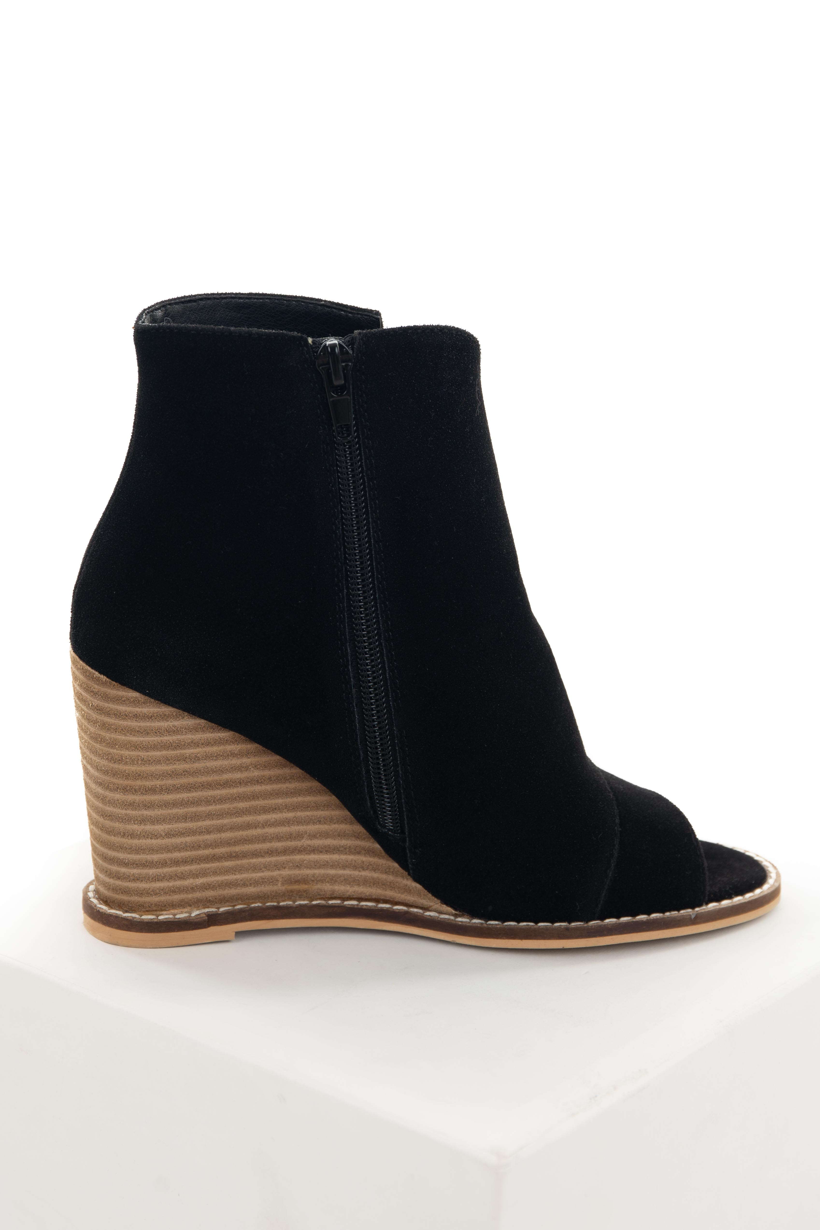 Black Textured Faux Wrap Wedge Booties