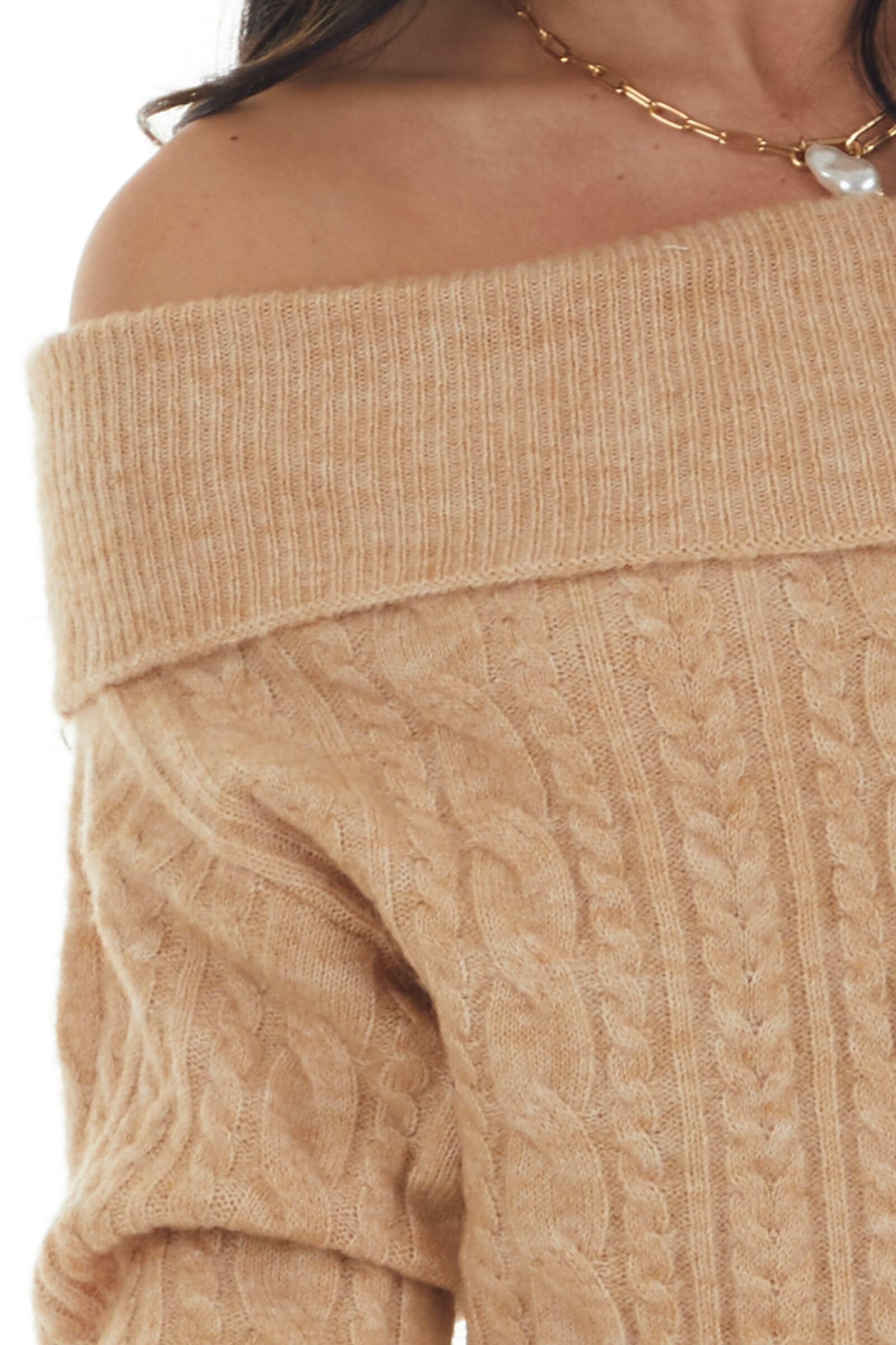 Camel Off the Shoulder Cable Knit Sweater