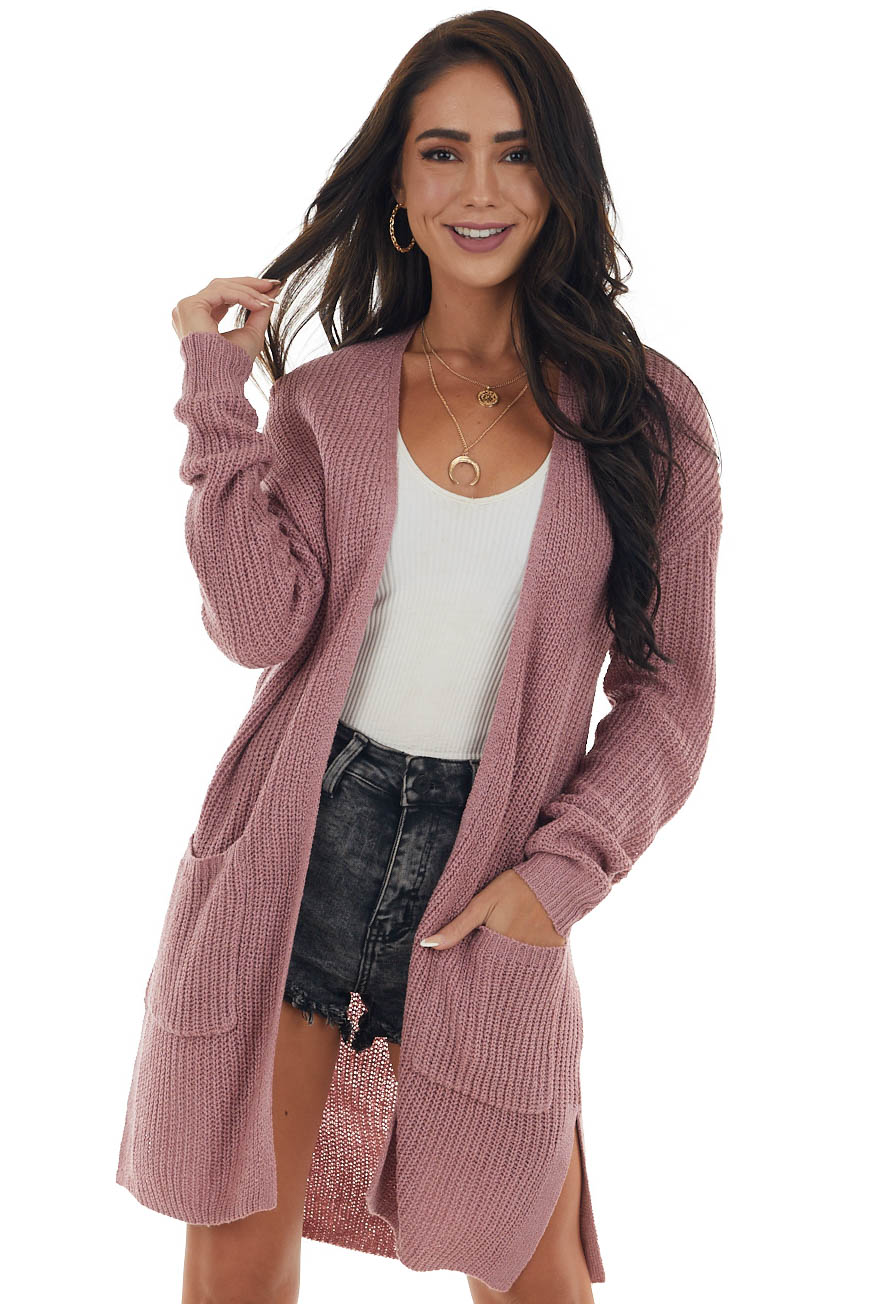 Baby Pink Long Sleeve Open Front Knit Cardigan