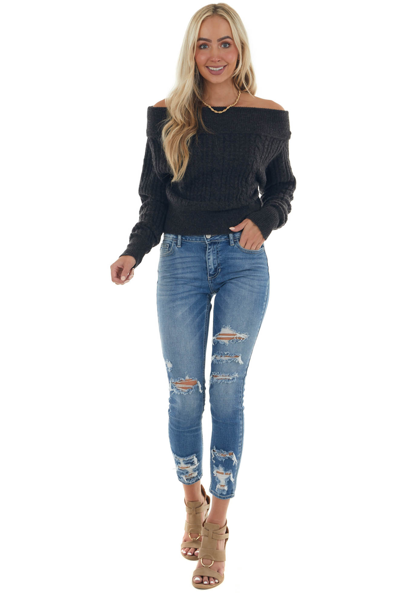 Black Off the Shoulder Cable Knit Sweater