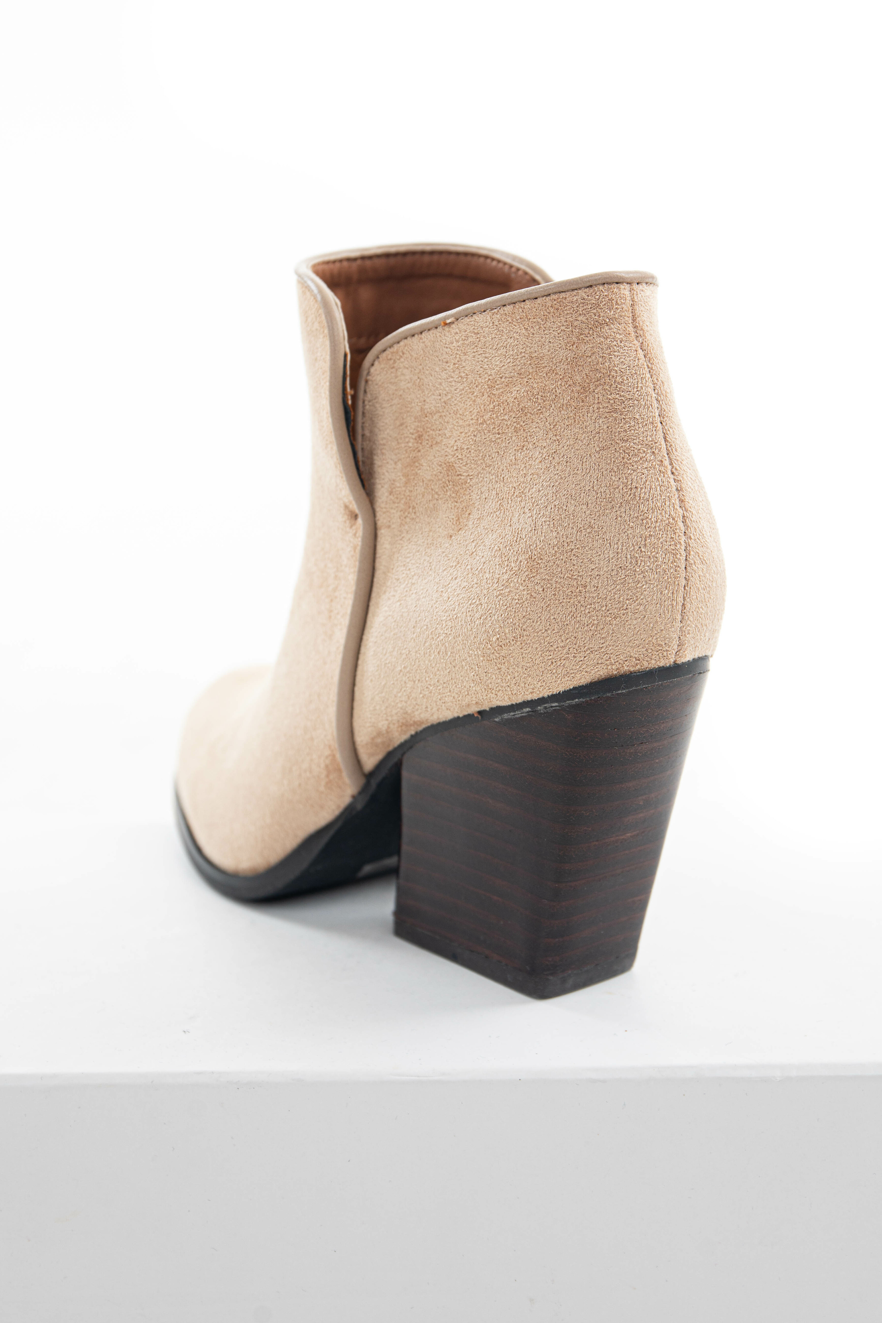 Camel Fuzzy Faux Suede Curved Heel Booties