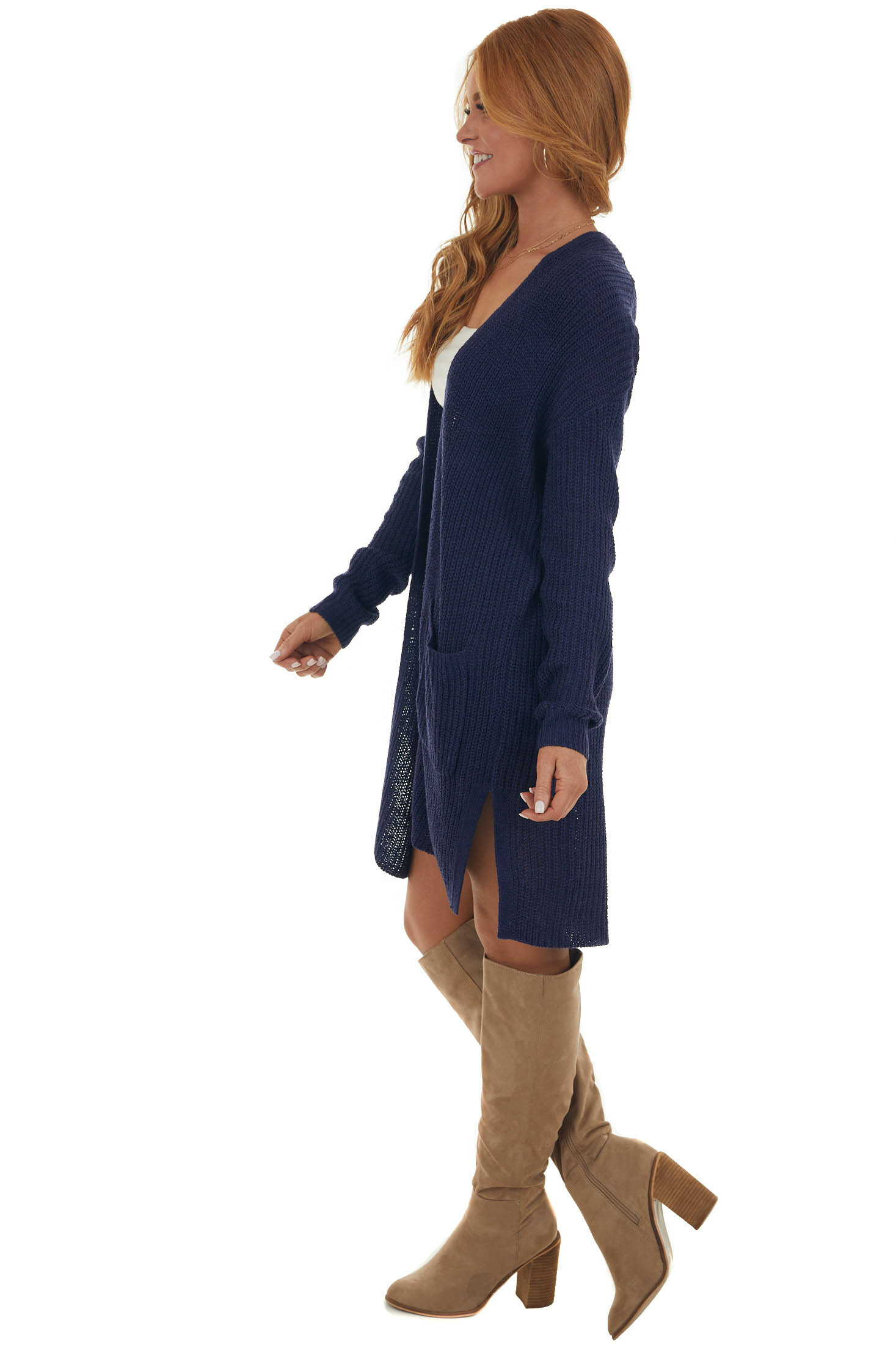 Navy Long Sleeve Open Front Knit Cardigan
