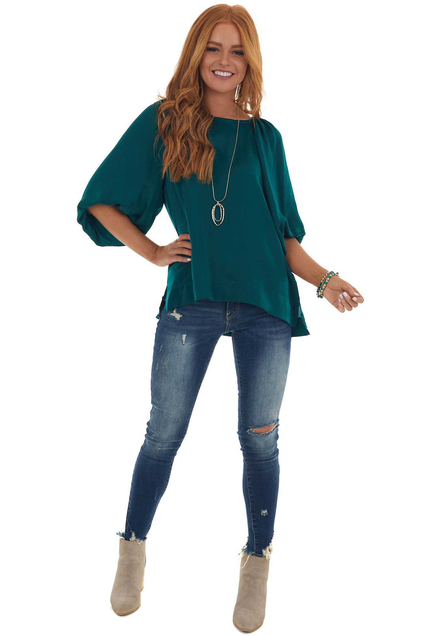 Forest Puff Sleeve Blouse with Side Slits