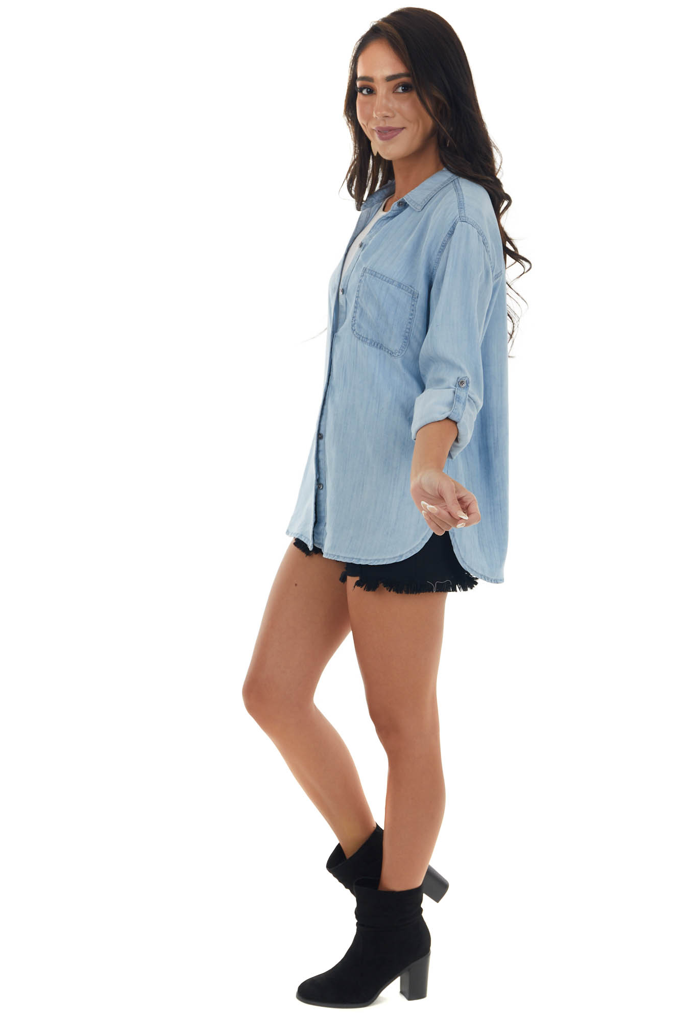 Light Chambray Button Up Top with Long Sleeves