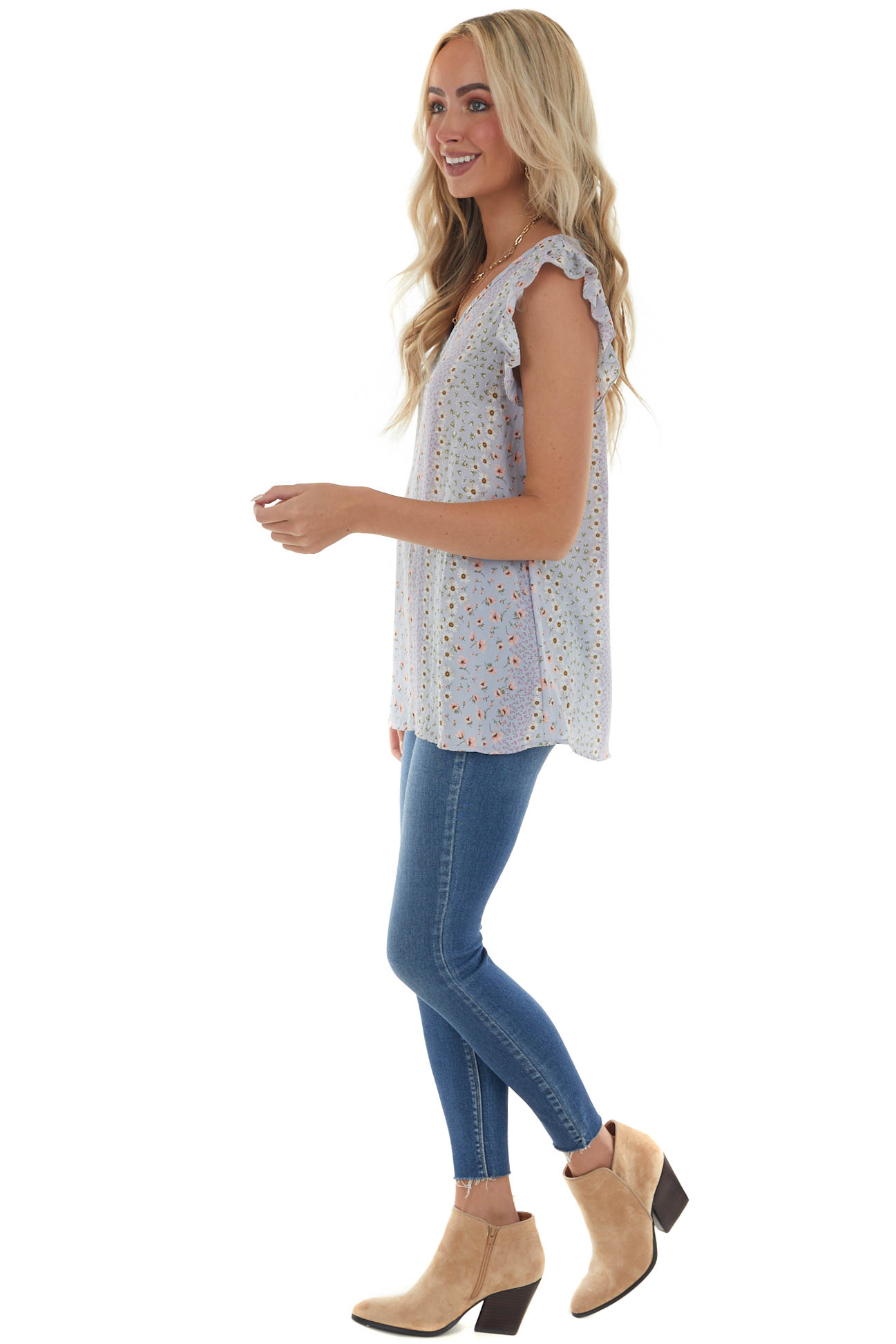 Periwinkle Floral Blouse with Ruffled Sleeves
