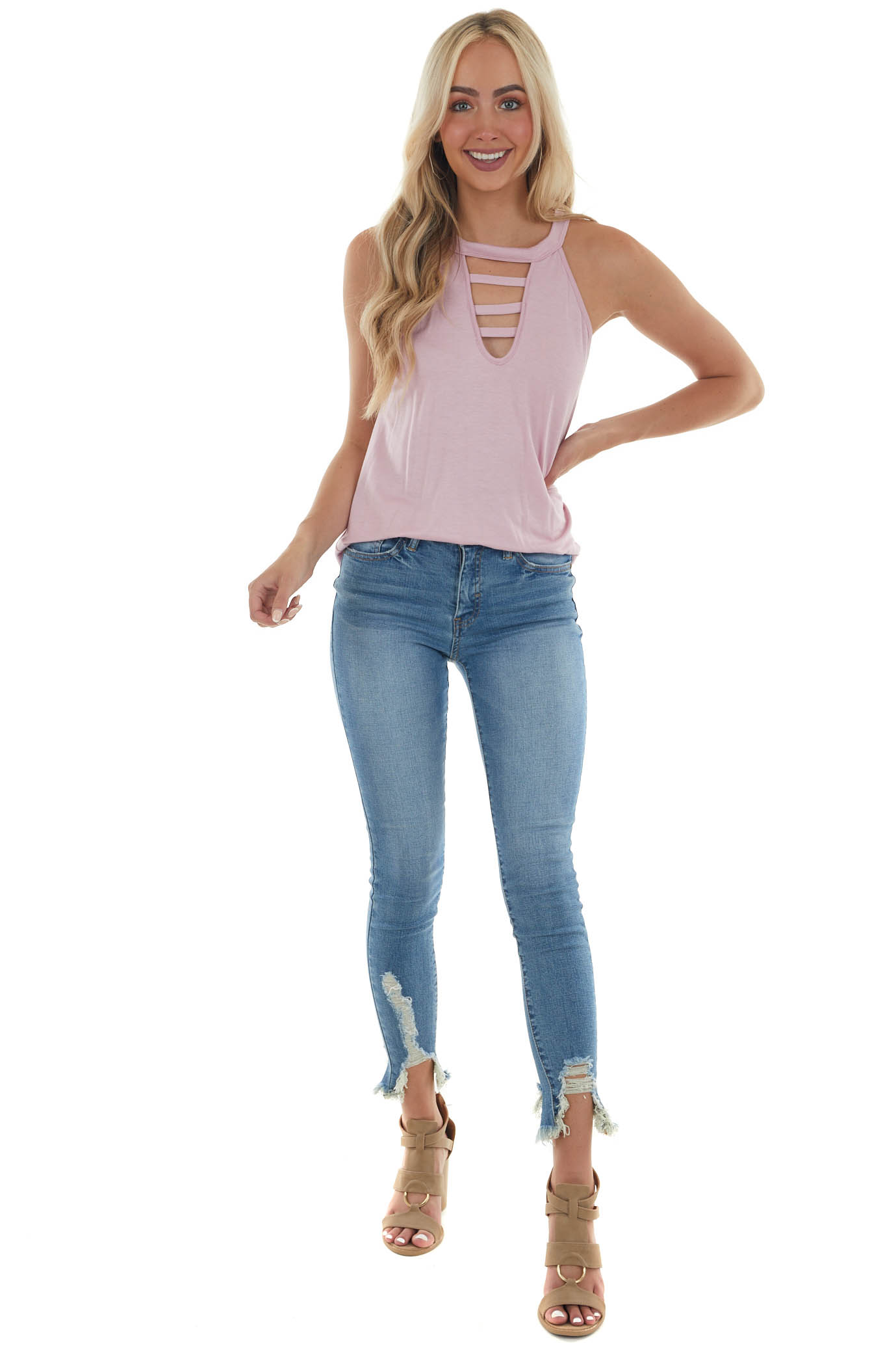 Orchid Ladder Cut Out Halter Neck Knit Top