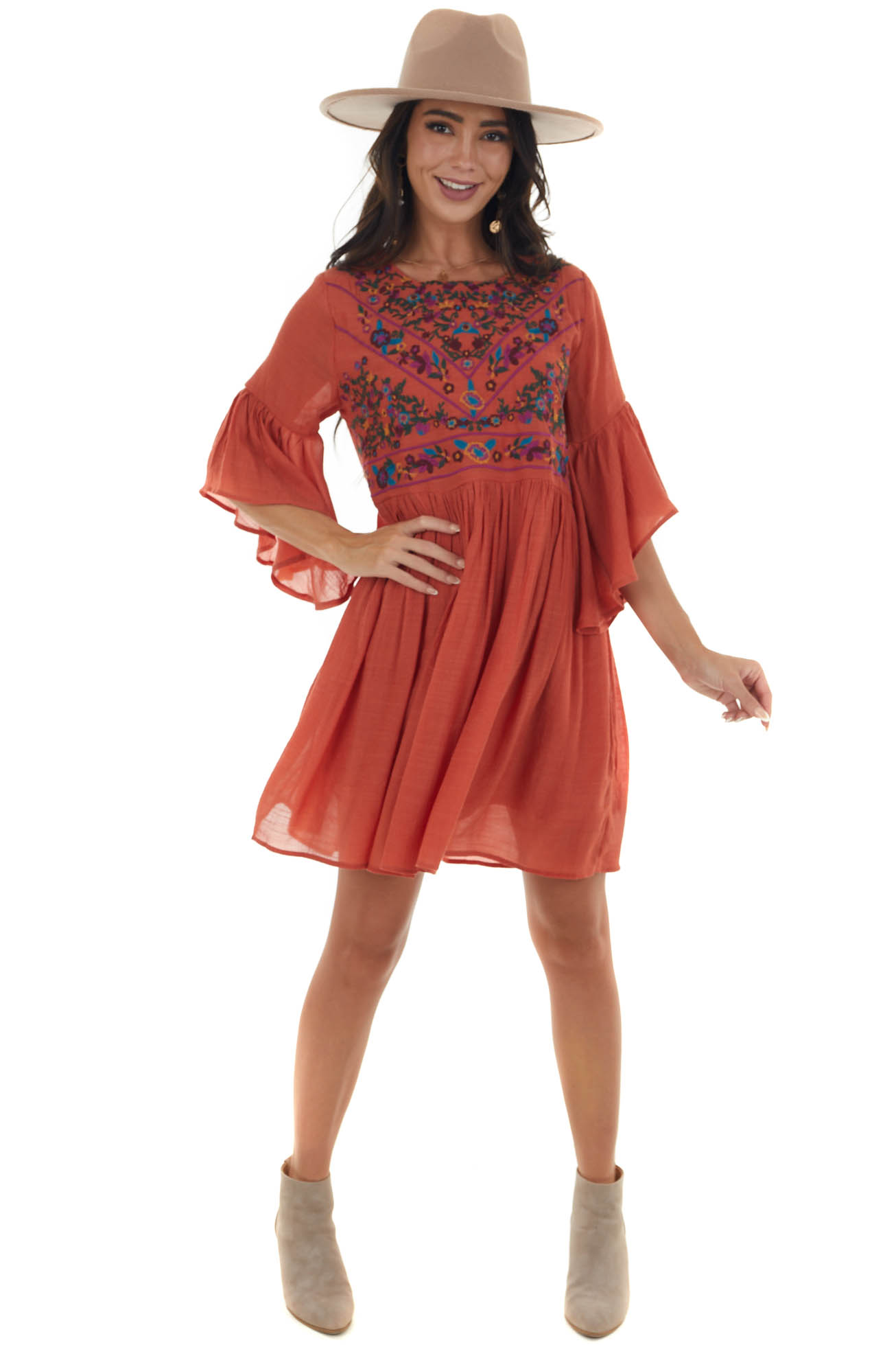 Tawny Floral Embroidered Flowy Short Dress