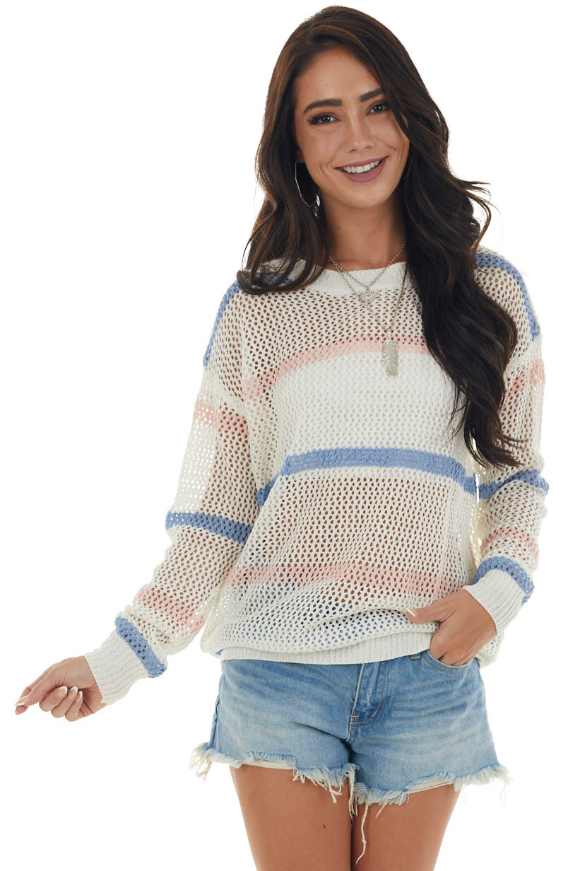Ivory and Cornflower Striped Low Gauge Sweater
