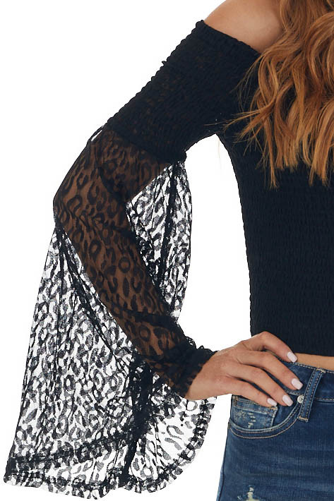 Black Off Shoulder Crop Top with Lace Sleeves