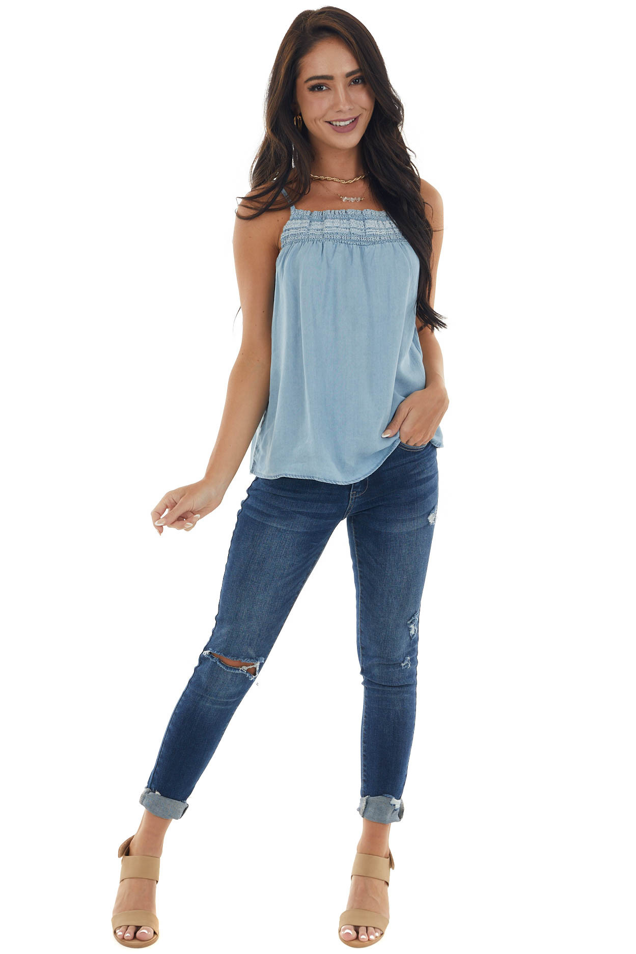 Light Chambray Tank Top with Smocked Neckline