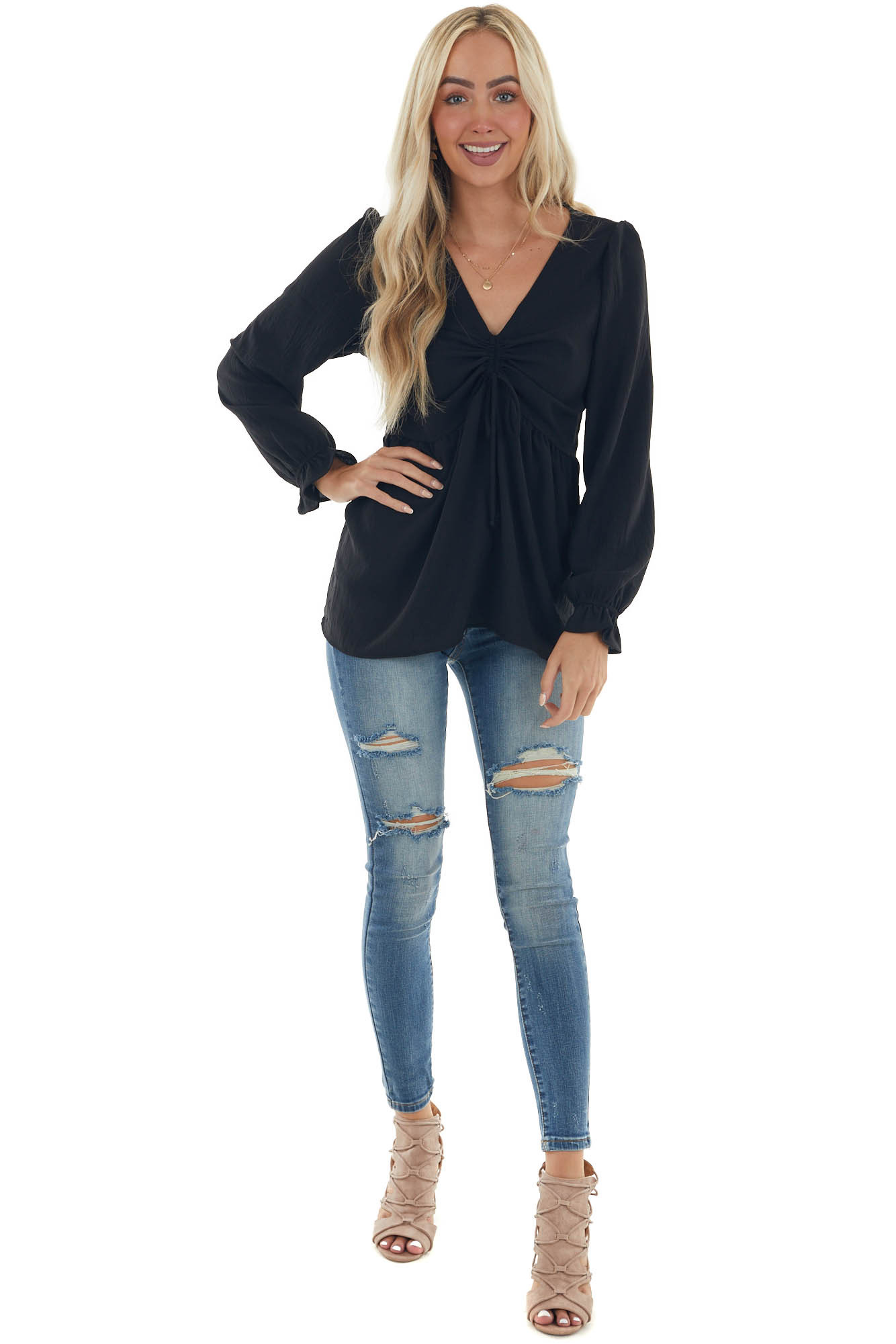 Black Long Sleeve Drawstring Cinched Front Top