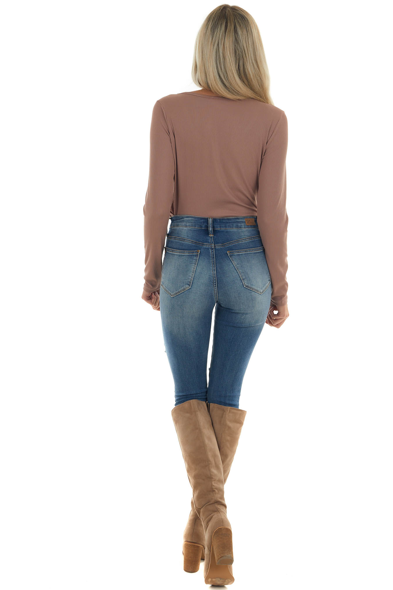 Rose Taupe Long Sleeve Ribbed Knit Bodysuit