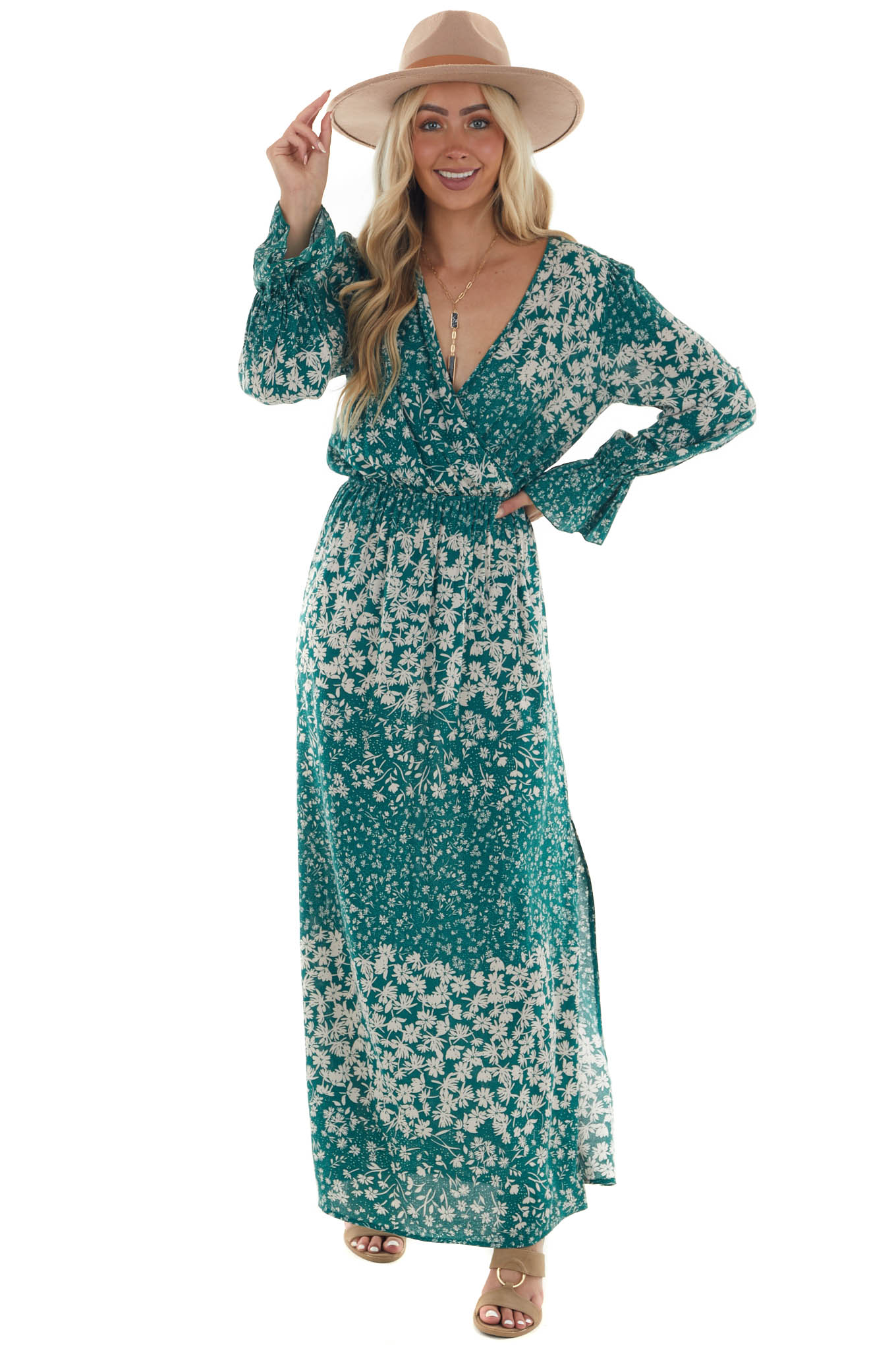 Forest Green Floral Long Sleeve Maxi Dress