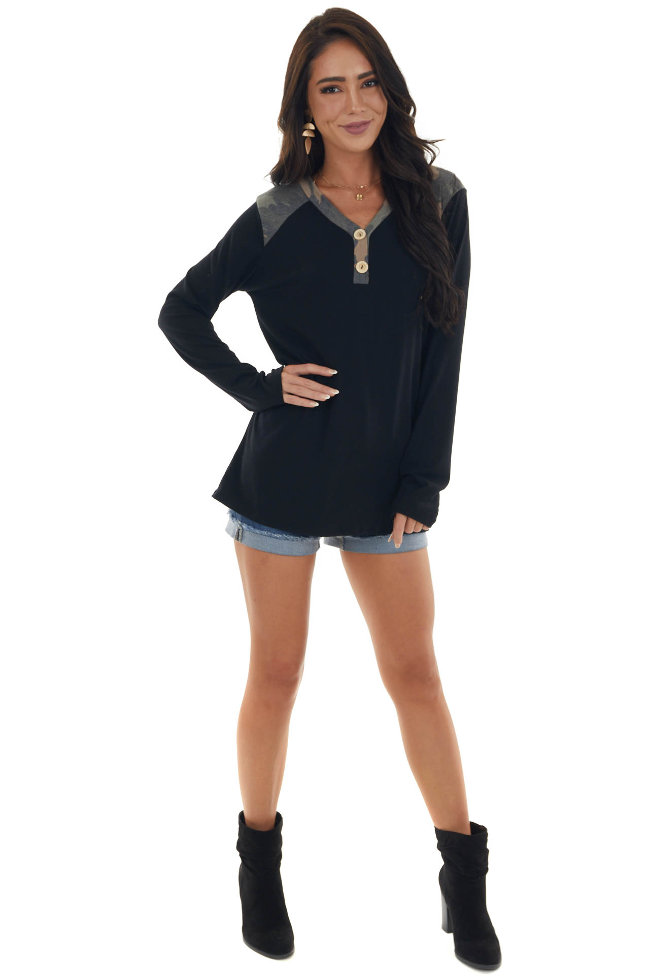Black Long Sleeve Knit Top with Camo Contrast